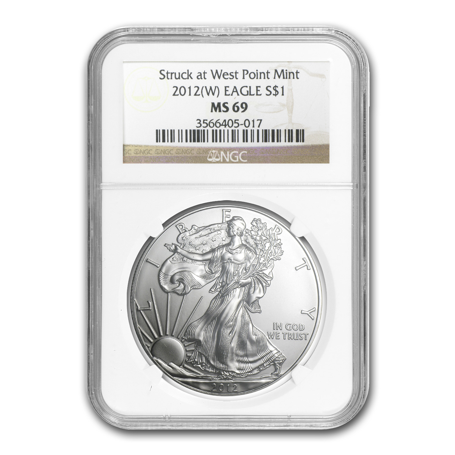 2012 (W) Silver American Eagle MS-69 NGC