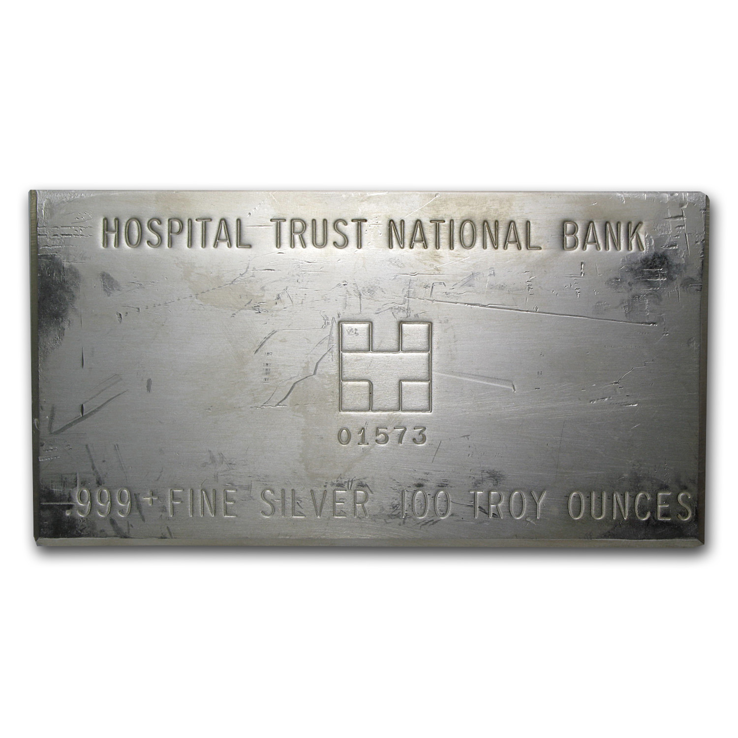 100 oz Silver Bar - Hospital Trust National Bank (Struck)