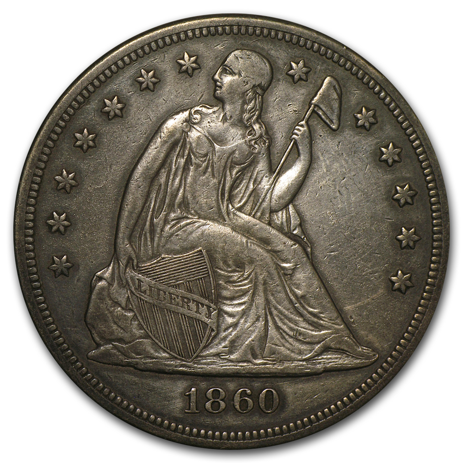 1860 Liberty Seated Dollar - Extra Fine