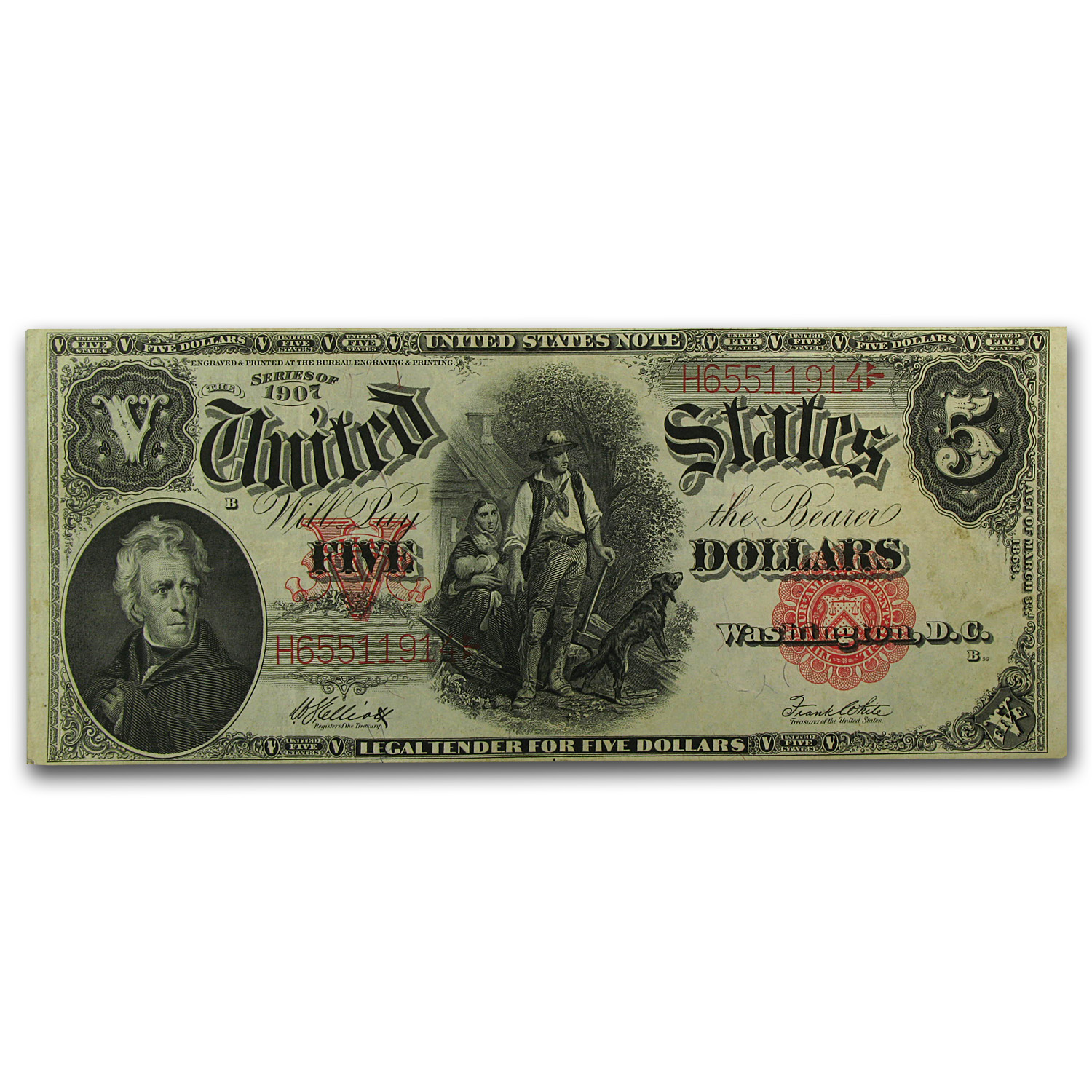 1907 $5.00 Legal Tender Woodchopper VF+ (SN#H65511914)