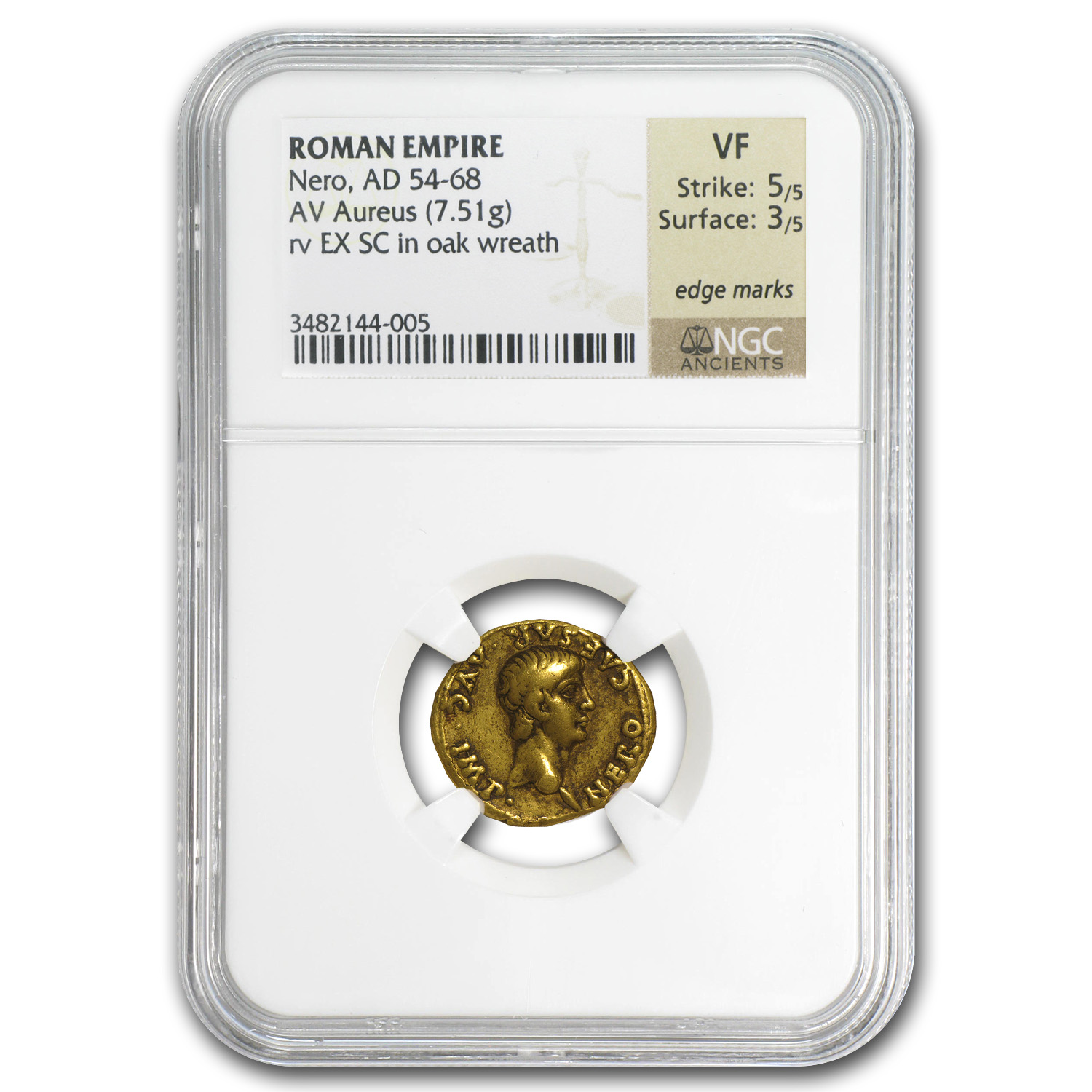 Roman Empire Gold Aureus of Nero VF NGC (54-68 AD)