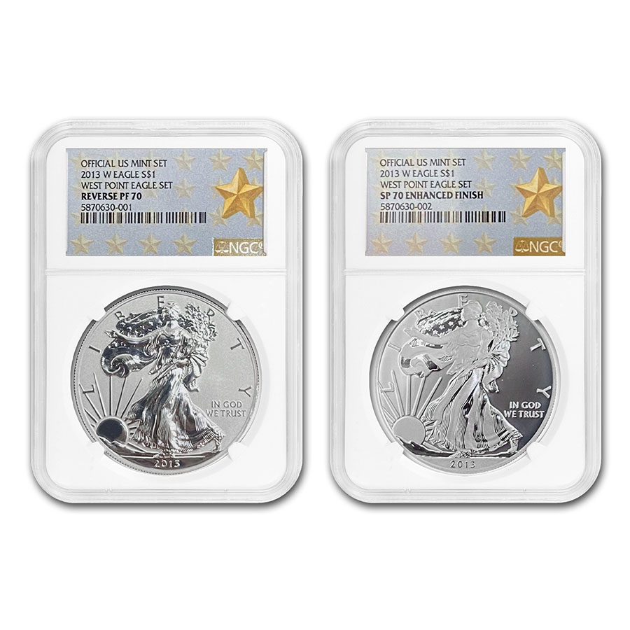 2013 2-Coin Silver American Eagle Set PF-70 NGC (West Point)
