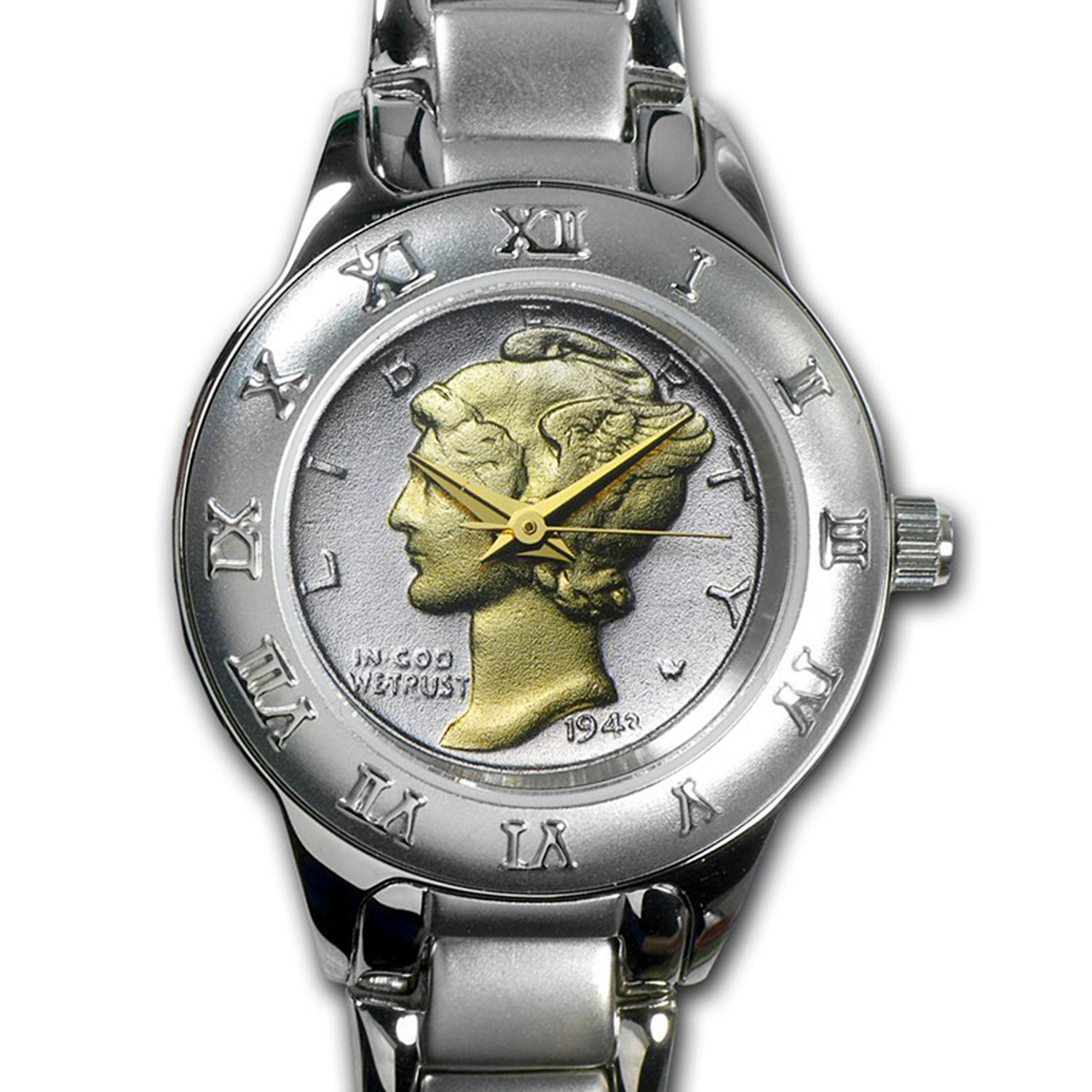 Ladies Mercury Dime Watch - Silvertone