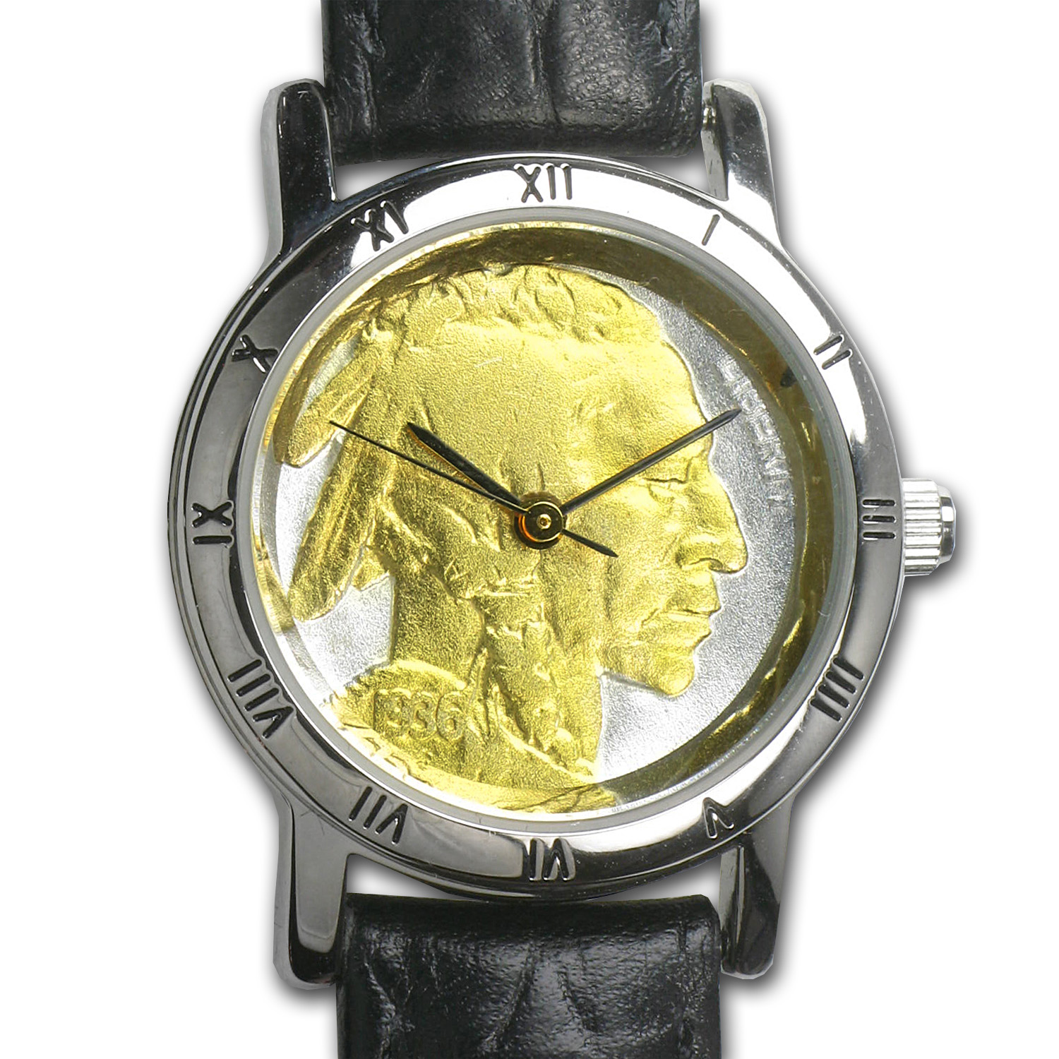 Ladies US Indian Head Nickel Watch - Black Leather Strap