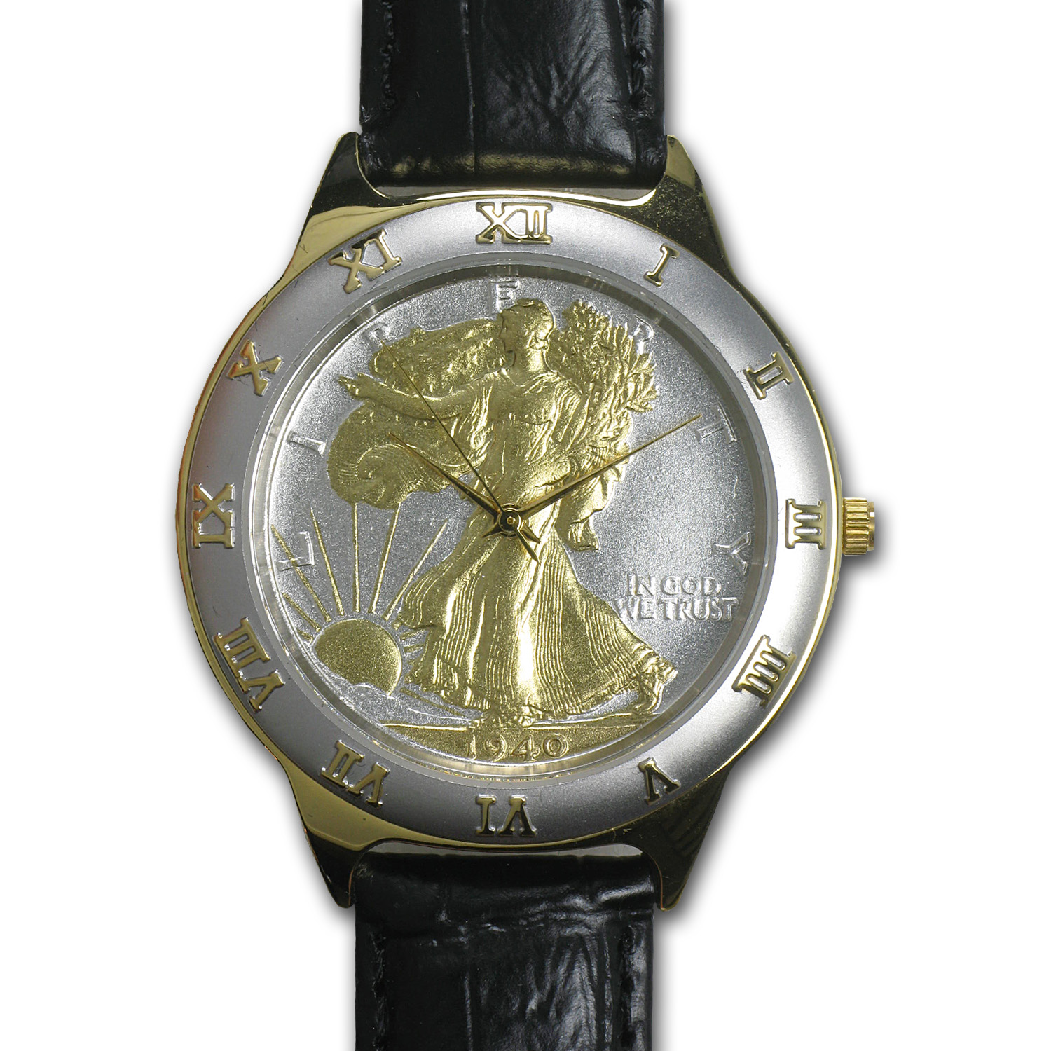 Men's Walking Liberty Half Dollar Watch - Black Leather Strap