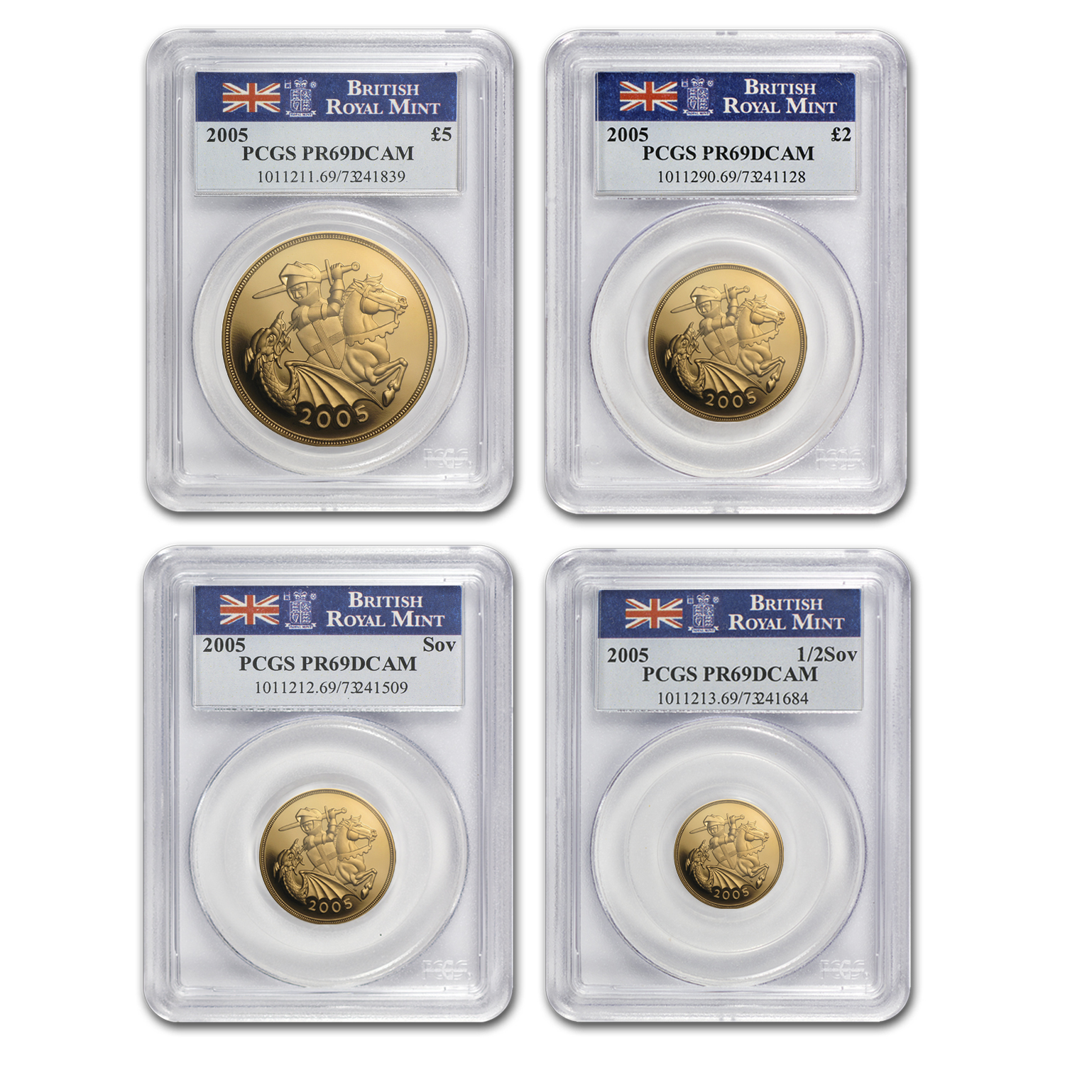 2005 Great Britain 4-Coin Gold Sovereign Set PR-69 PCGS