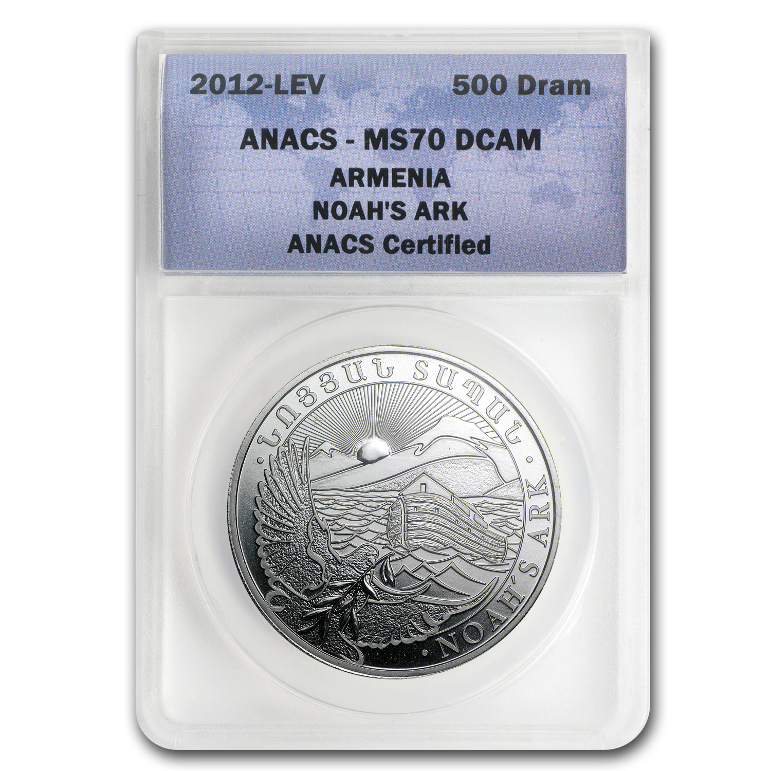 2013 1 oz Silver Armenia 500 Drams Noah's Ark MS-70 ANACS