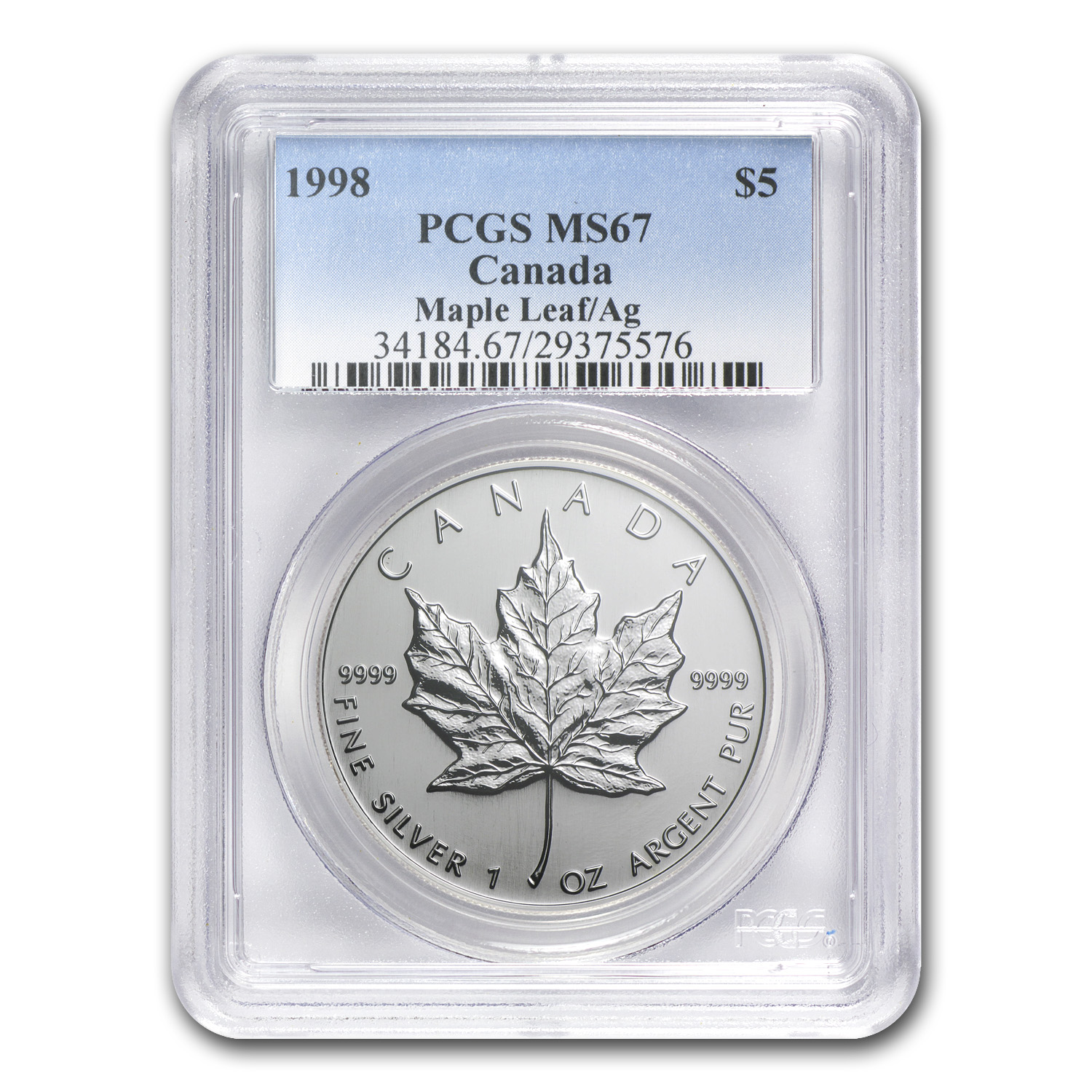 1998 1 oz Silver Canadian Maple Leaf MS-67 PCGS