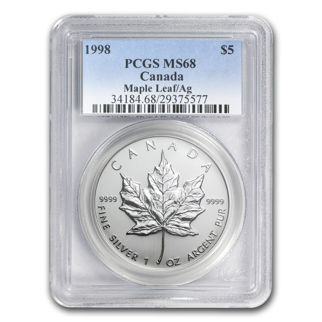 1998 1 oz Silver Canadian Maple Leaf MS-68 PCGS