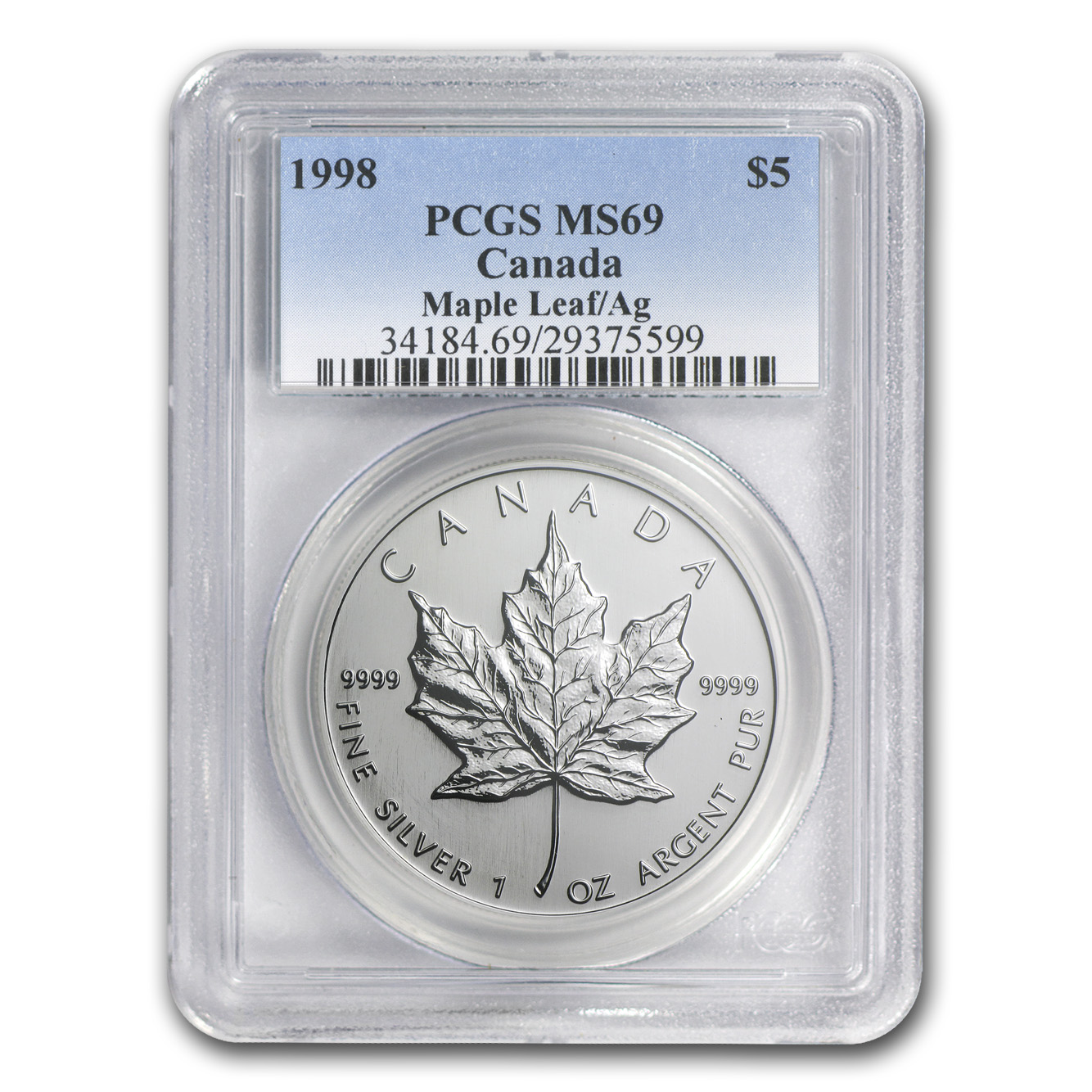 1998 1 oz Silver Canadian Maple Leaf MS-69 PCGS