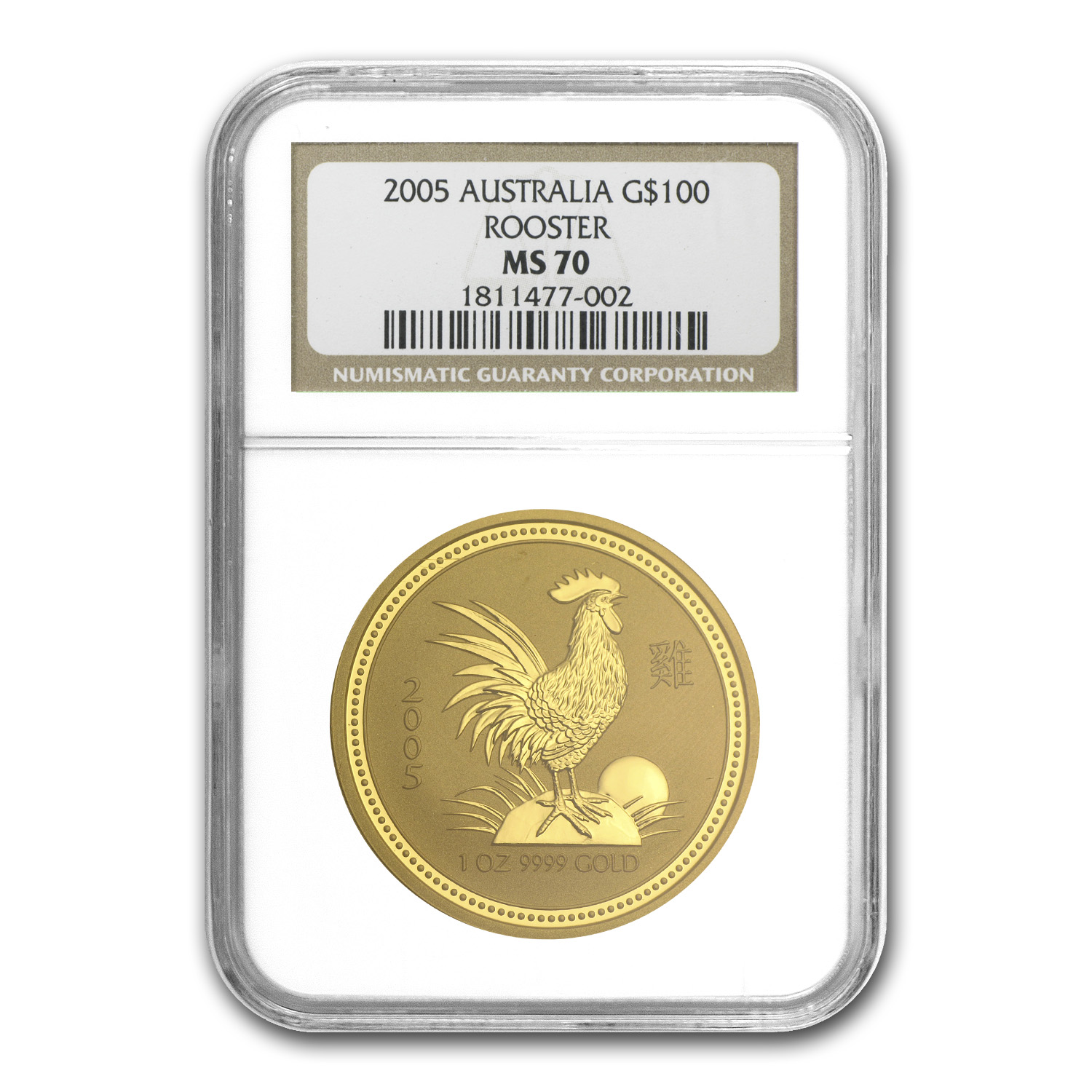 2005 1 oz Gold Year of the Rooster Lunar Coin (SI) MS-70 NGC