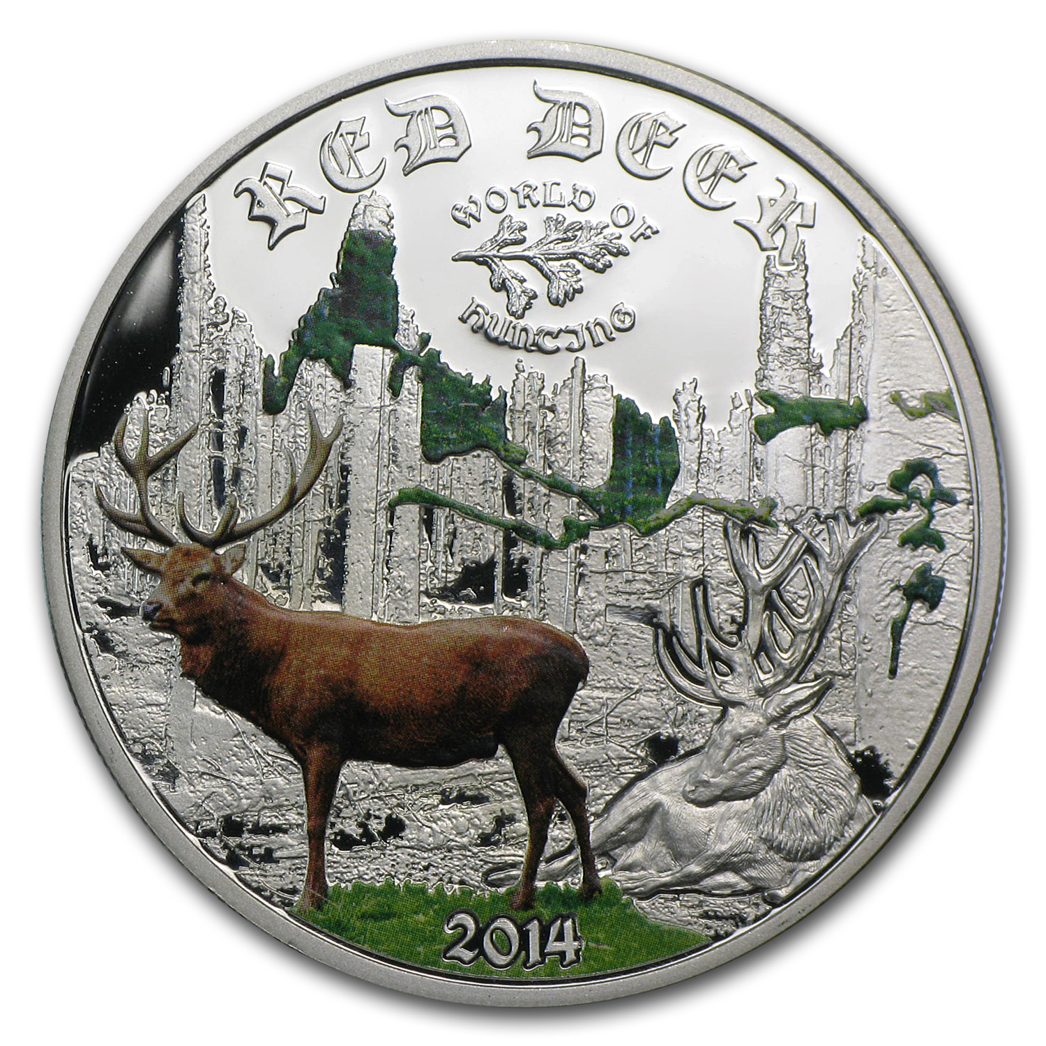 2014 Cook Islands 1/2 oz Proof Silver World of Hunting Red Deer
