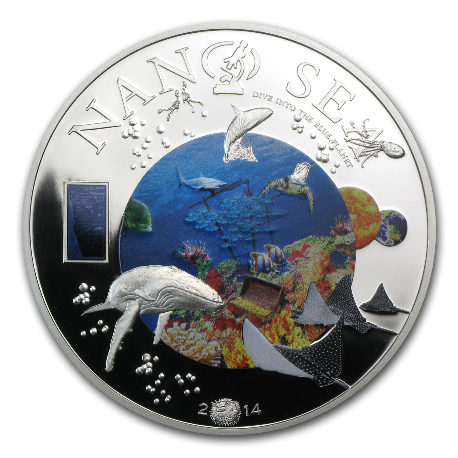 2014 Cook Islands Silver $10 Nano Sea Dive into the Blue Planet