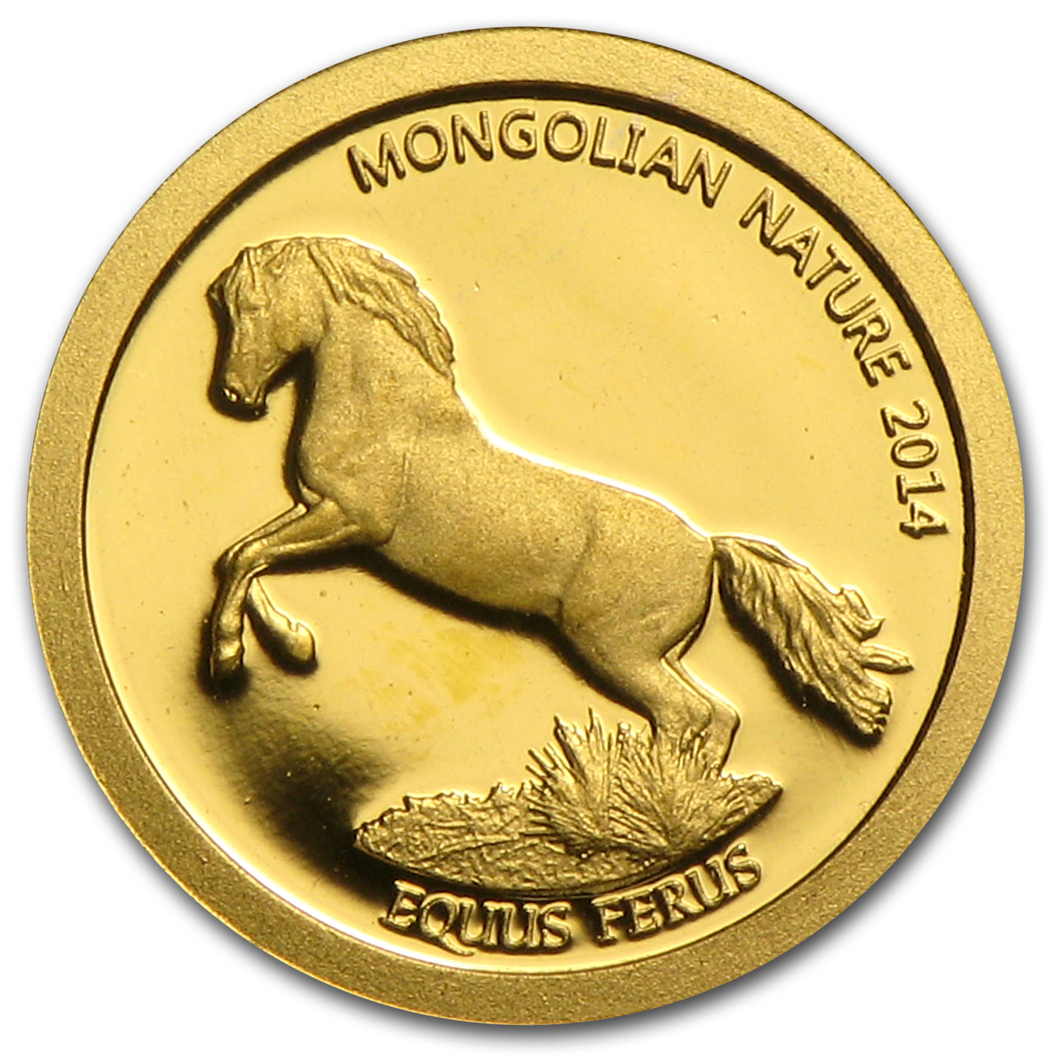 Mongolia 2014 Mongolian Nature - Horse(1/2 gram of Pure Gold)