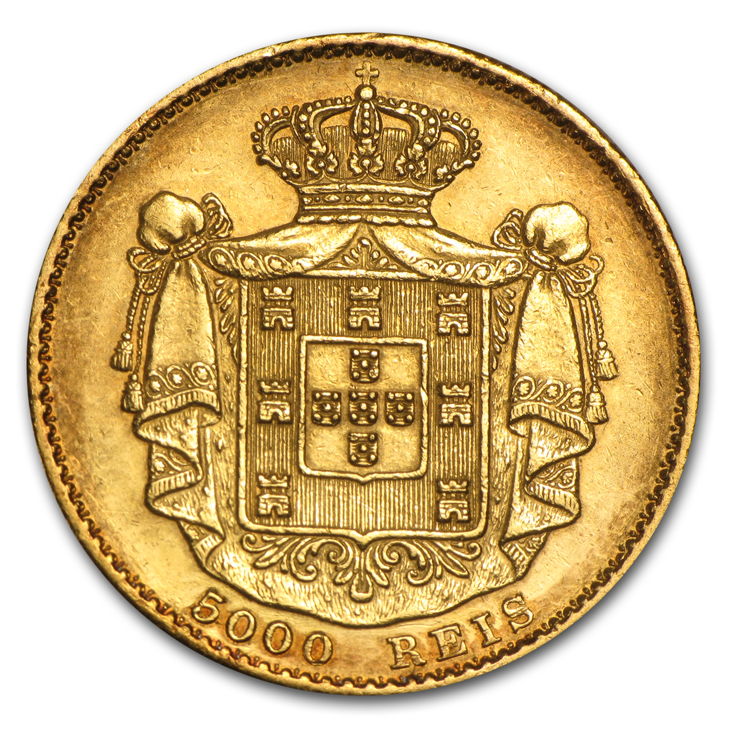 Portugal Gold 5000 Reis King Luiz I (Random Dates, AGW .2614)