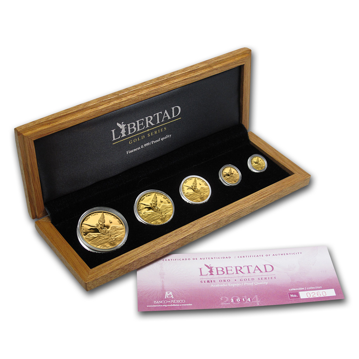 2014 1.9 oz Gold Mexican Libertad Proof 5-Coin Wood Box Set