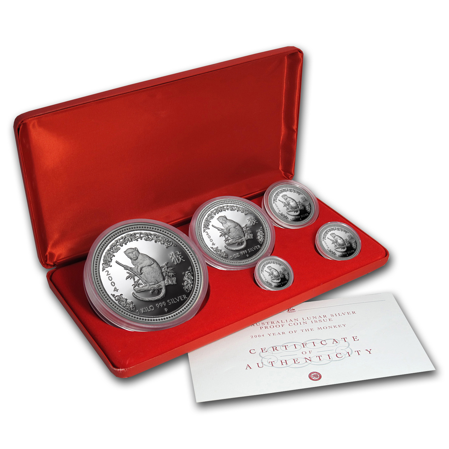 2004 Australia 5-Coin Silver Monkey Proof Set