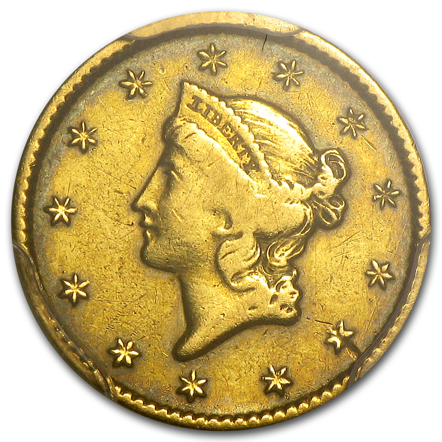 1849-C $1 Liberty Head Gold Closed Wreath Fine Details PCGS