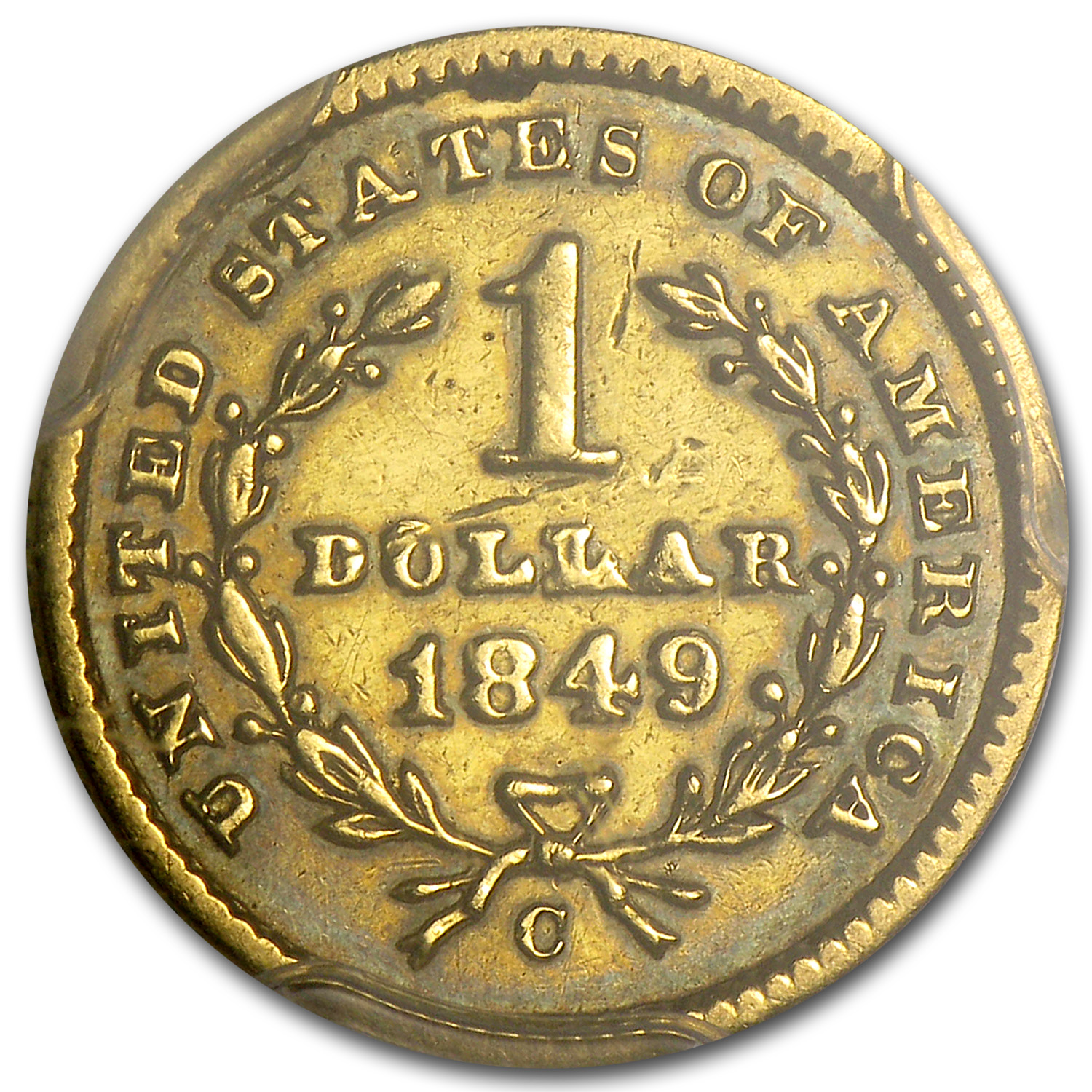 1849-C $1 Liberty Head Gold Closed Wreath Fine Details