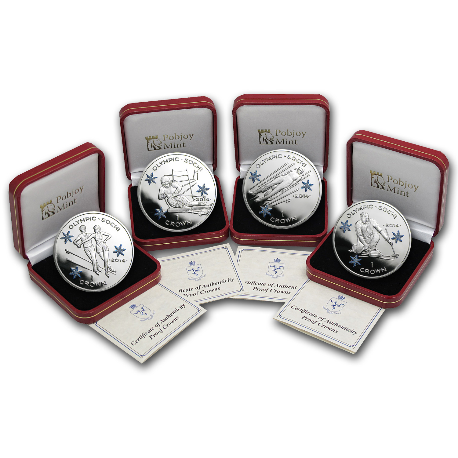 2014 Isle of Man 4-Coin Silver Crown Sochi Olympics Set