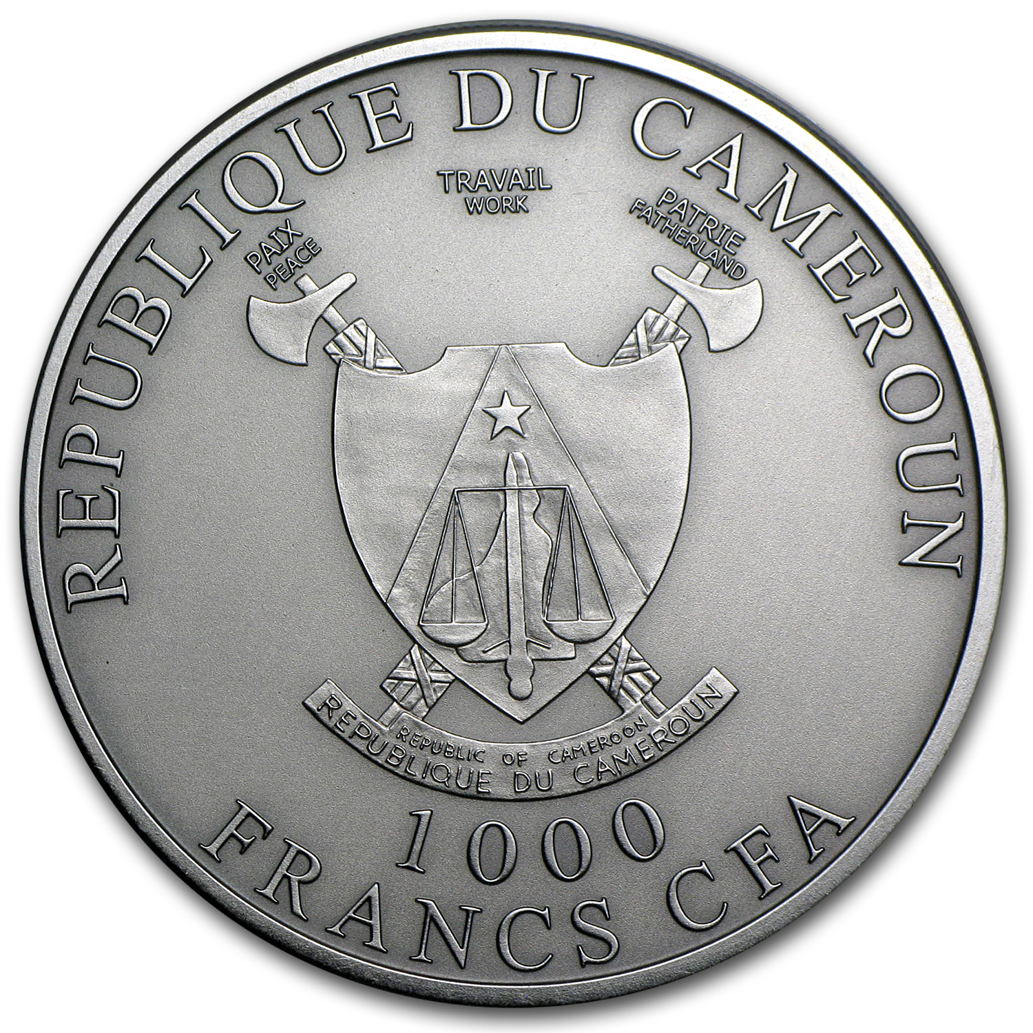 Cameroon 2012 1 oz Silver 1,000 Francs CFA - Cross River Gorilla
