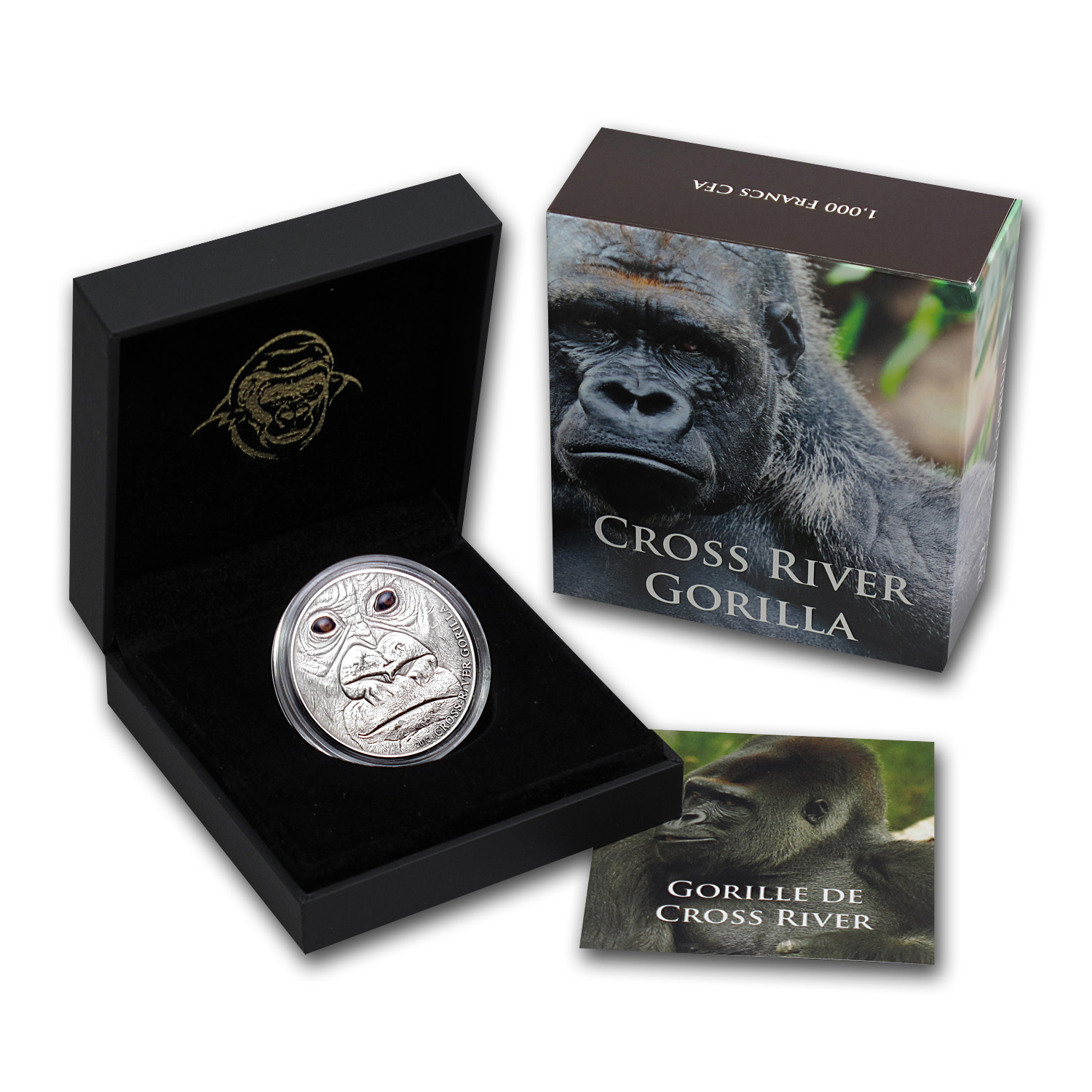 2012 Cameroon 1 oz Silver 1000FR CFA Cross River Gorilla