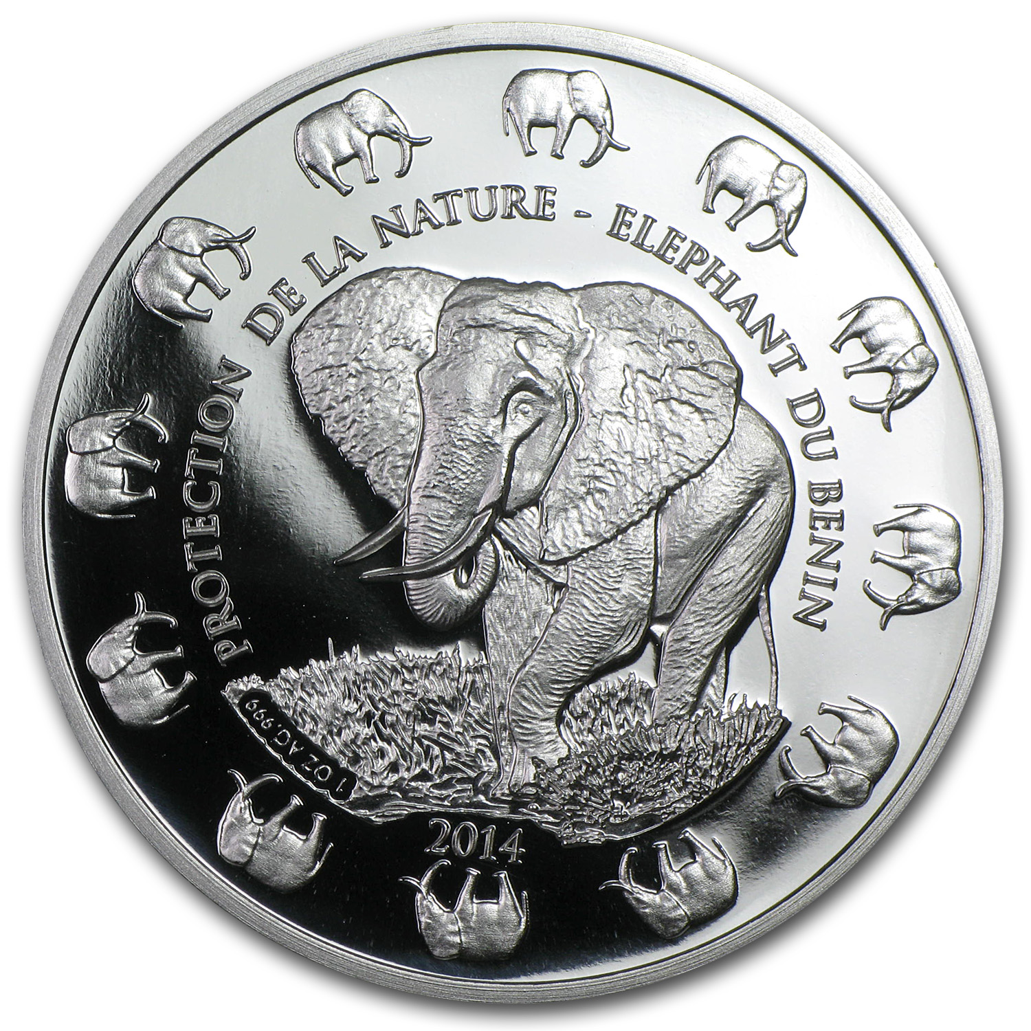2014 Benin 1 oz Silver Protection de la Nature Elephant