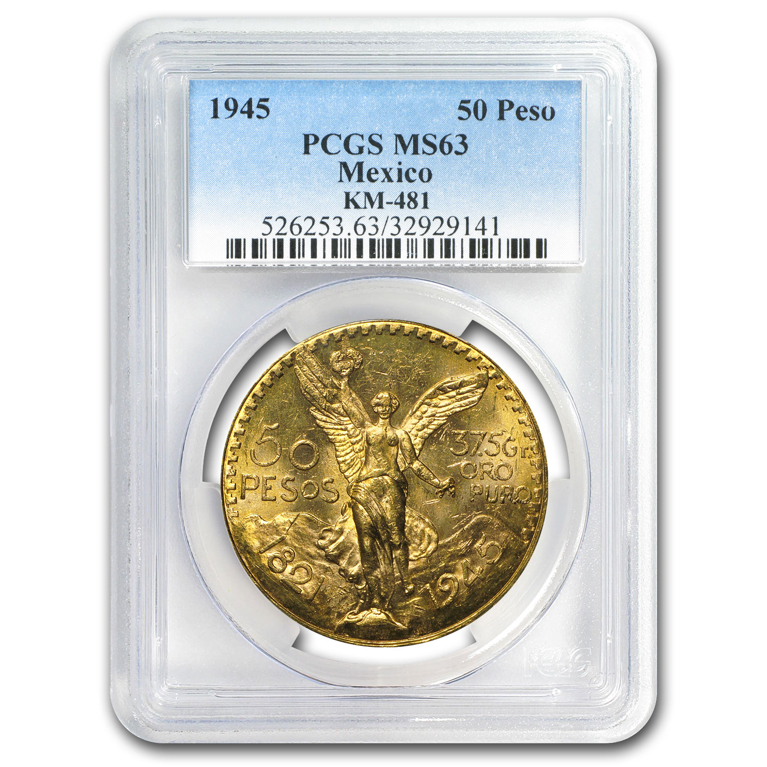 1945 Mexico Gold 50 Pesos MS-63 PCGS