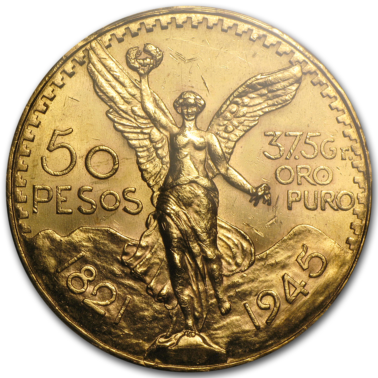 1945 Mexico Gold 50 Pesos MS-62 PCGS