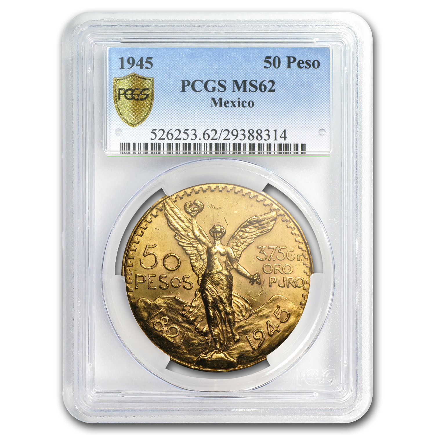 Mexico 1945 50 Pesos Gold Coin - MS-62 PCGS (Secure Plus!)
