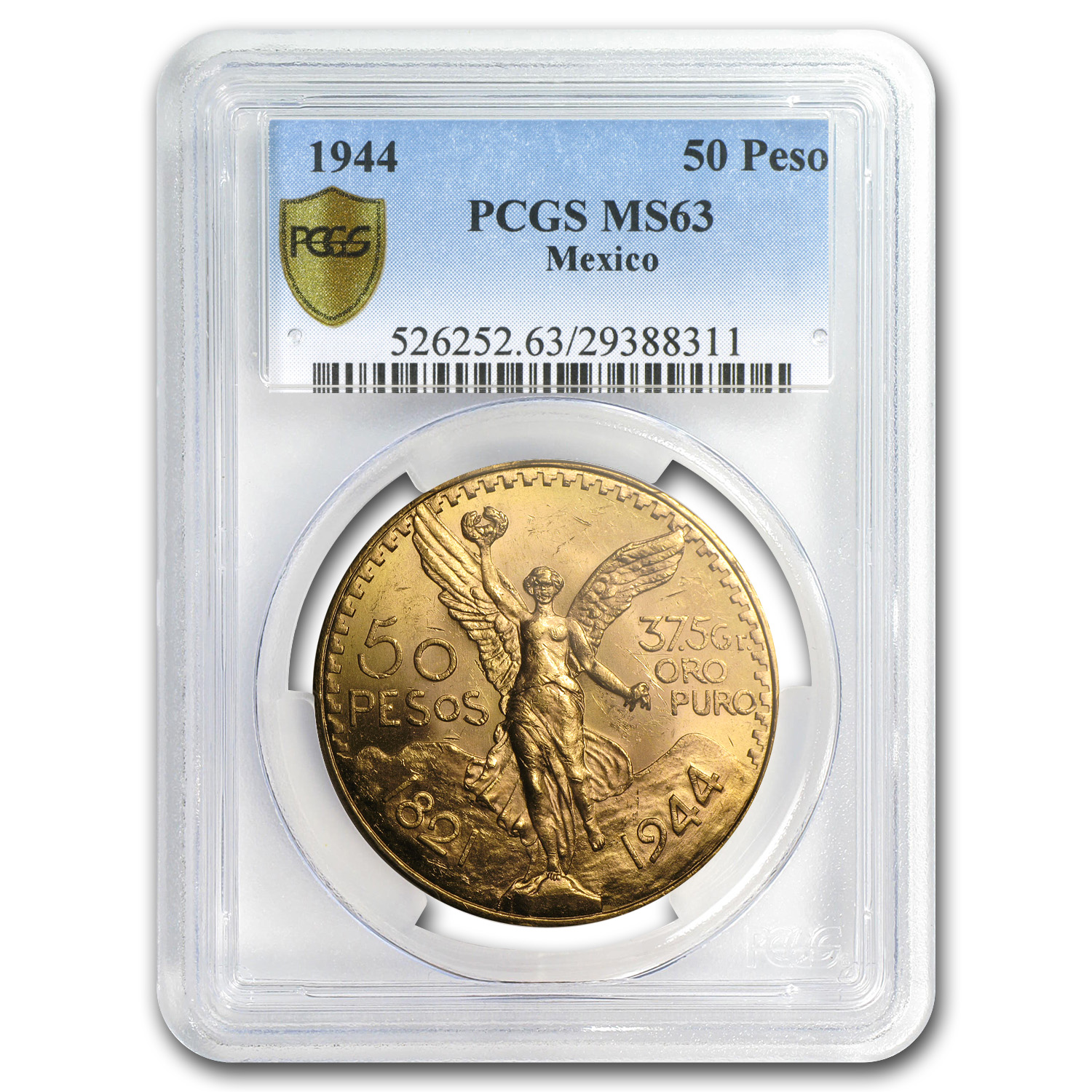 Mexico 1944 50 Pesos Gold Coin - MS-63 PCGS