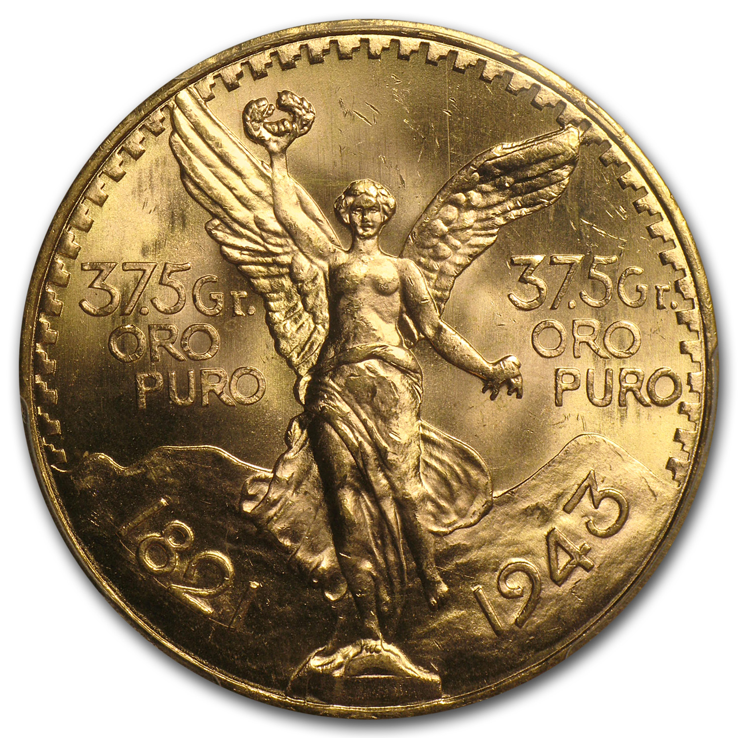 Mexico 1943 50 Pesos Gold Coin - MS-65 PCGS (Secure Plus!)