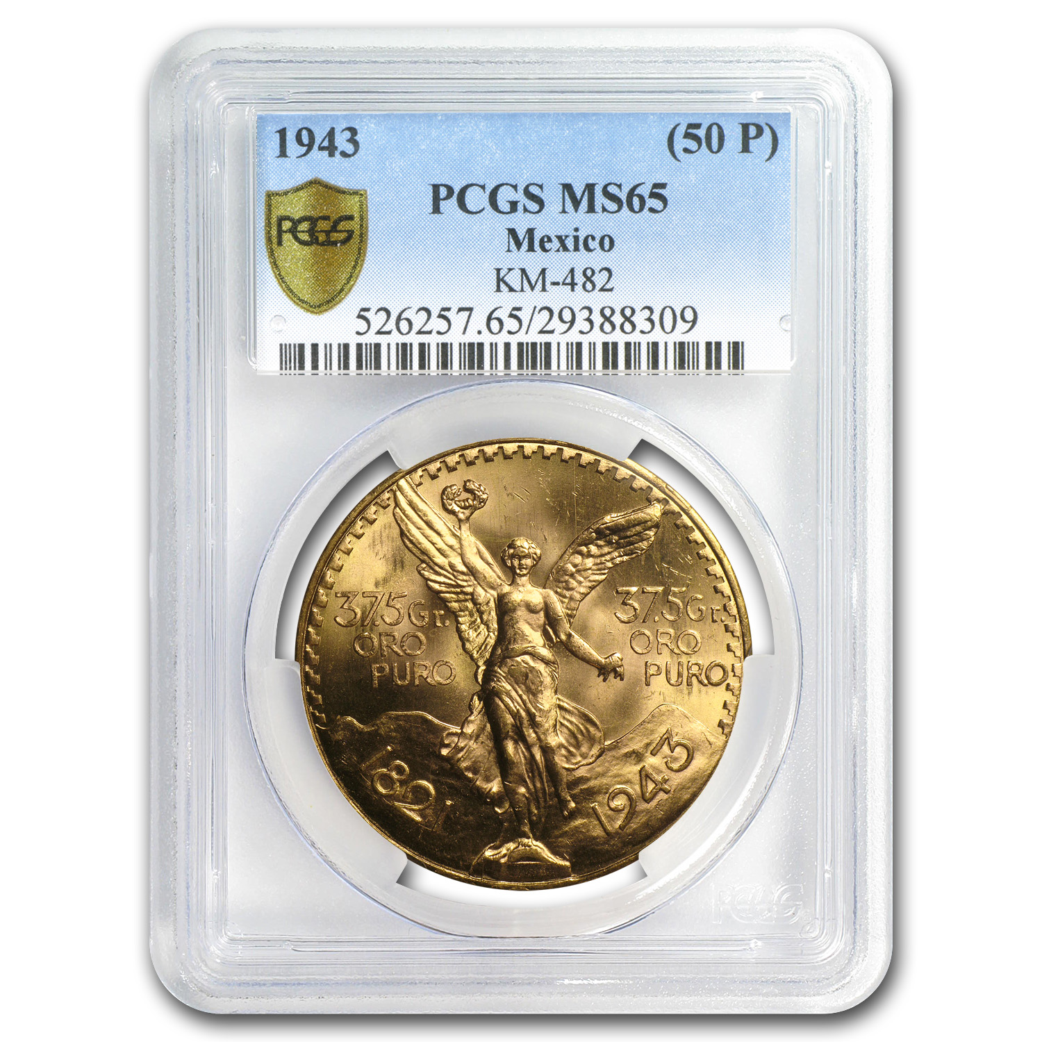 1943 Mexico Gold 50 Pesos MS-65 PCGS (Secure Plus)