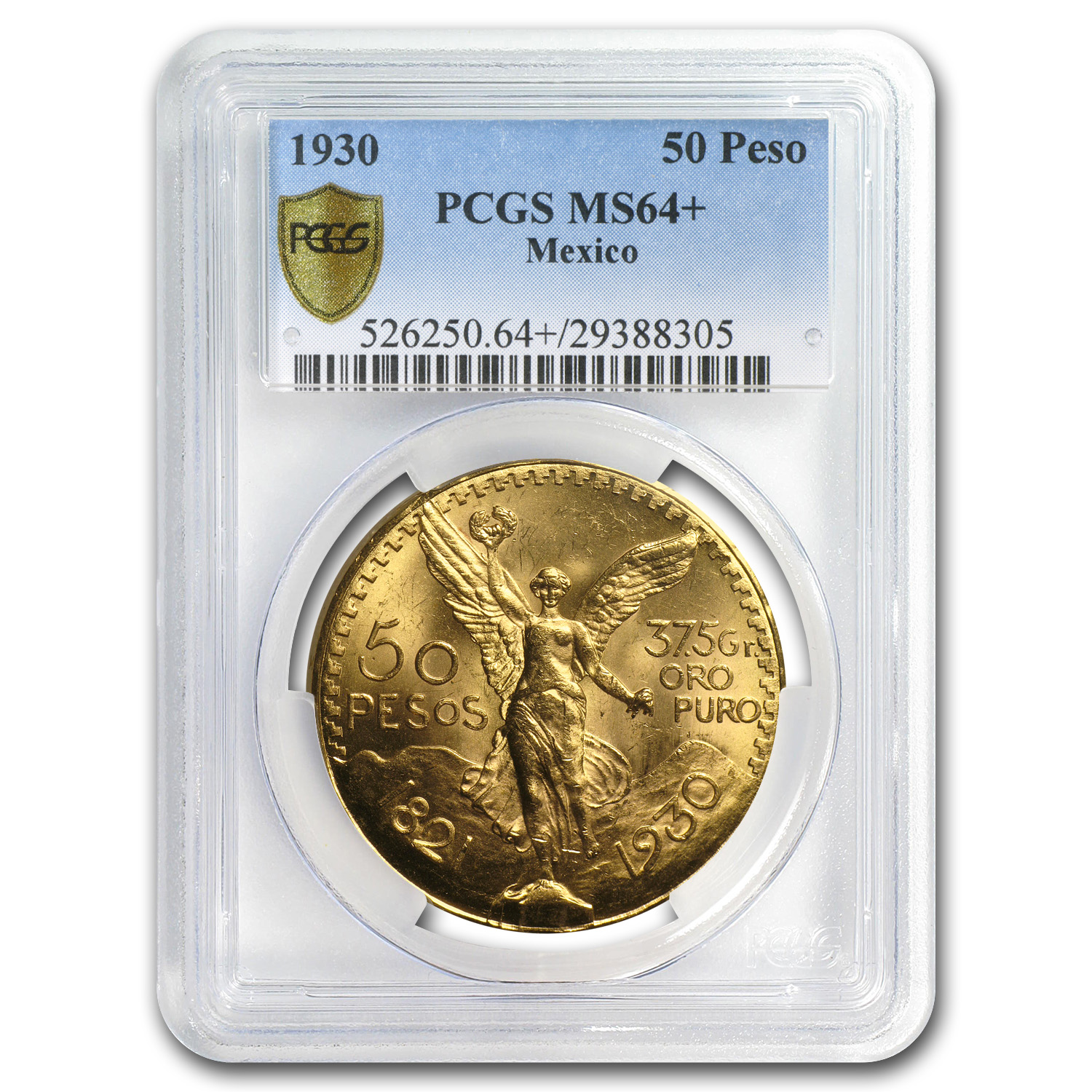 1930 Mexico Gold 50 Pesos MS-64+ PCGS (Secure Plus)