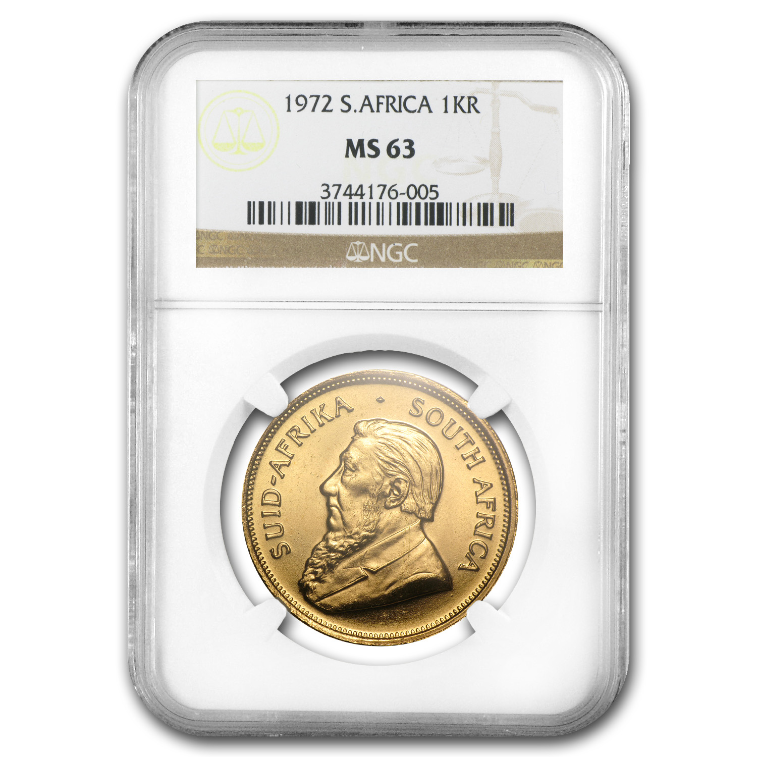 1972 South Africa 1 oz Gold Krugerrand MS-63 NGC