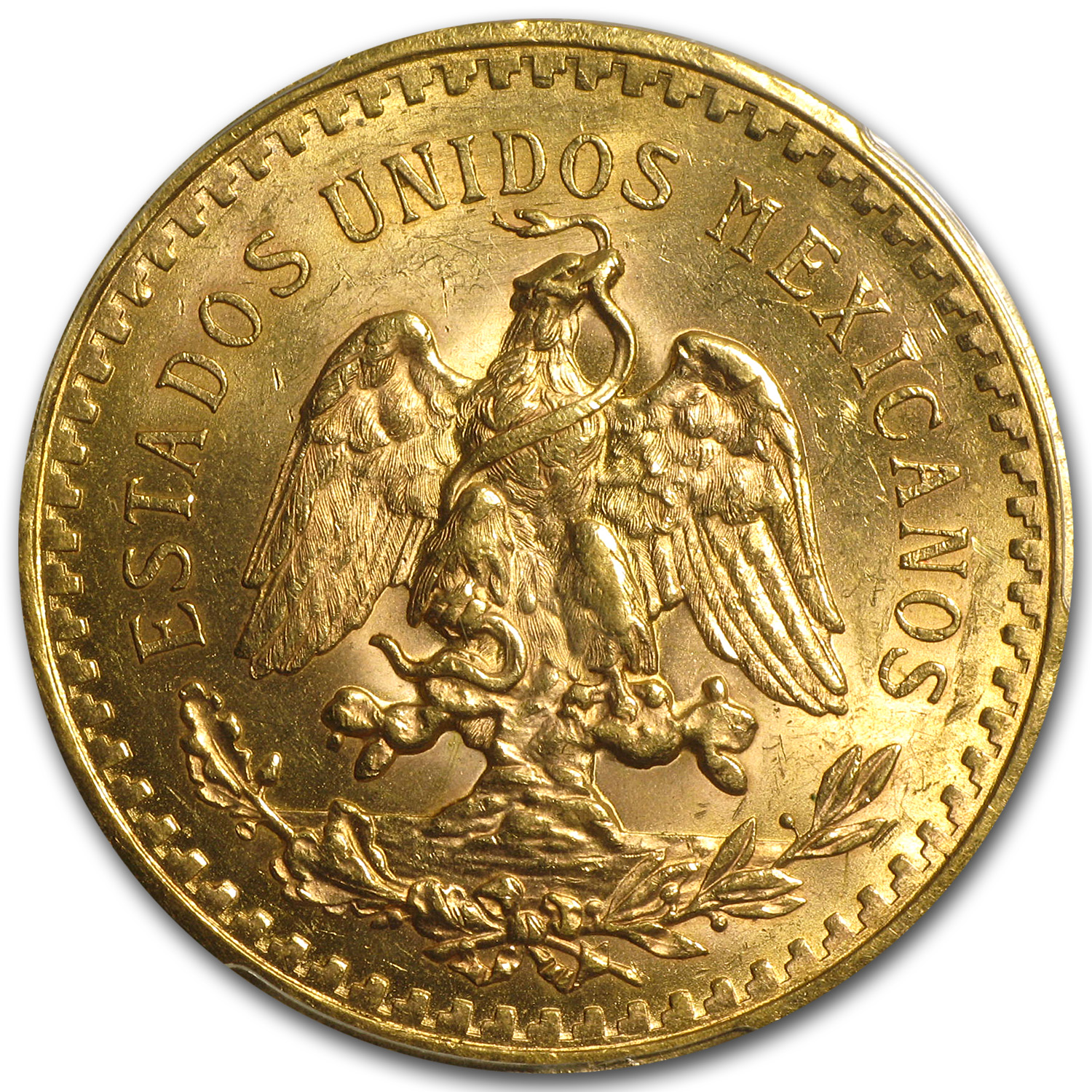 Mexico 1921 50 Pesos Gold Coin (Unc Details - Cleaned PCGS)
