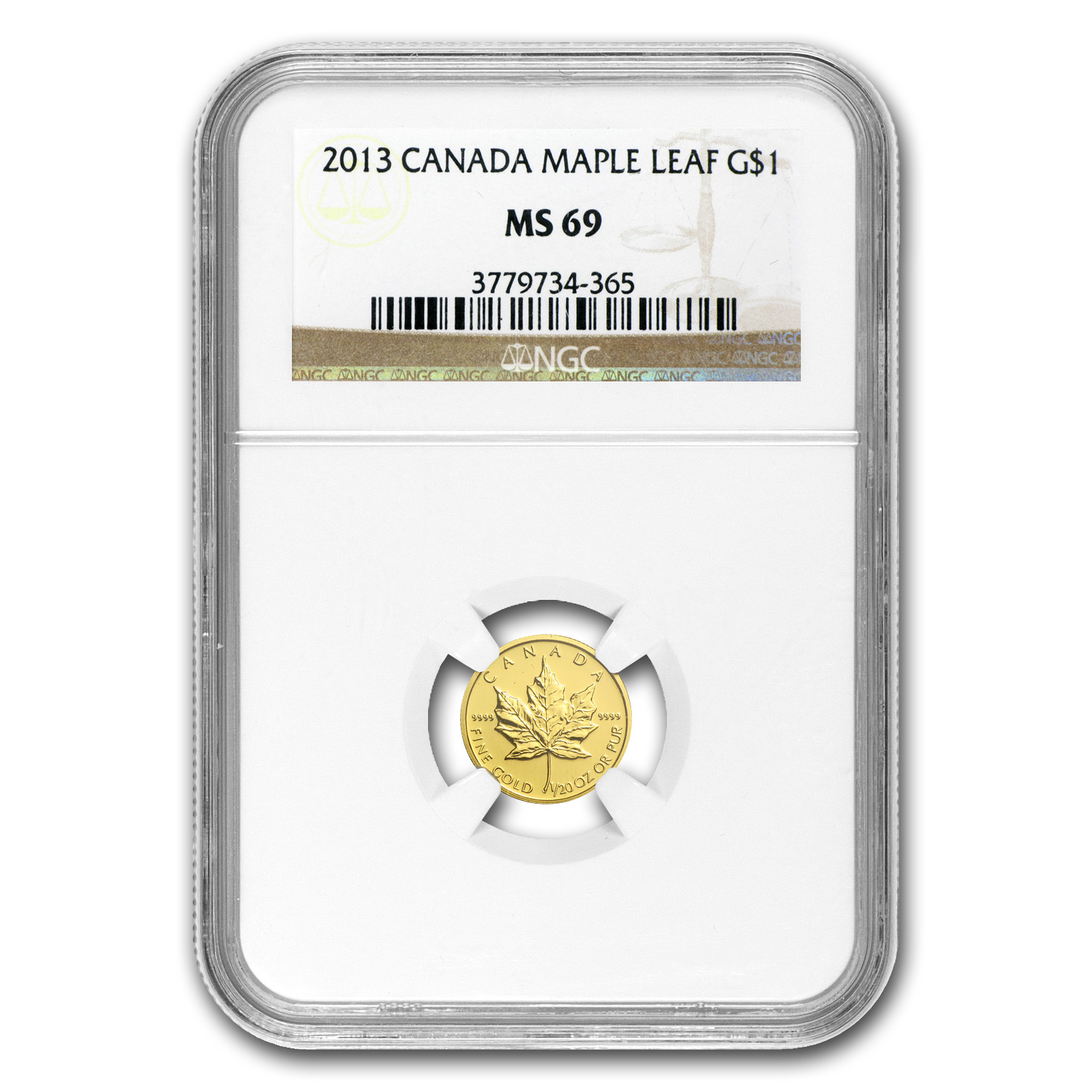 2013 Canada 1/20 oz Gold Maple Leaf MS-69 NGC