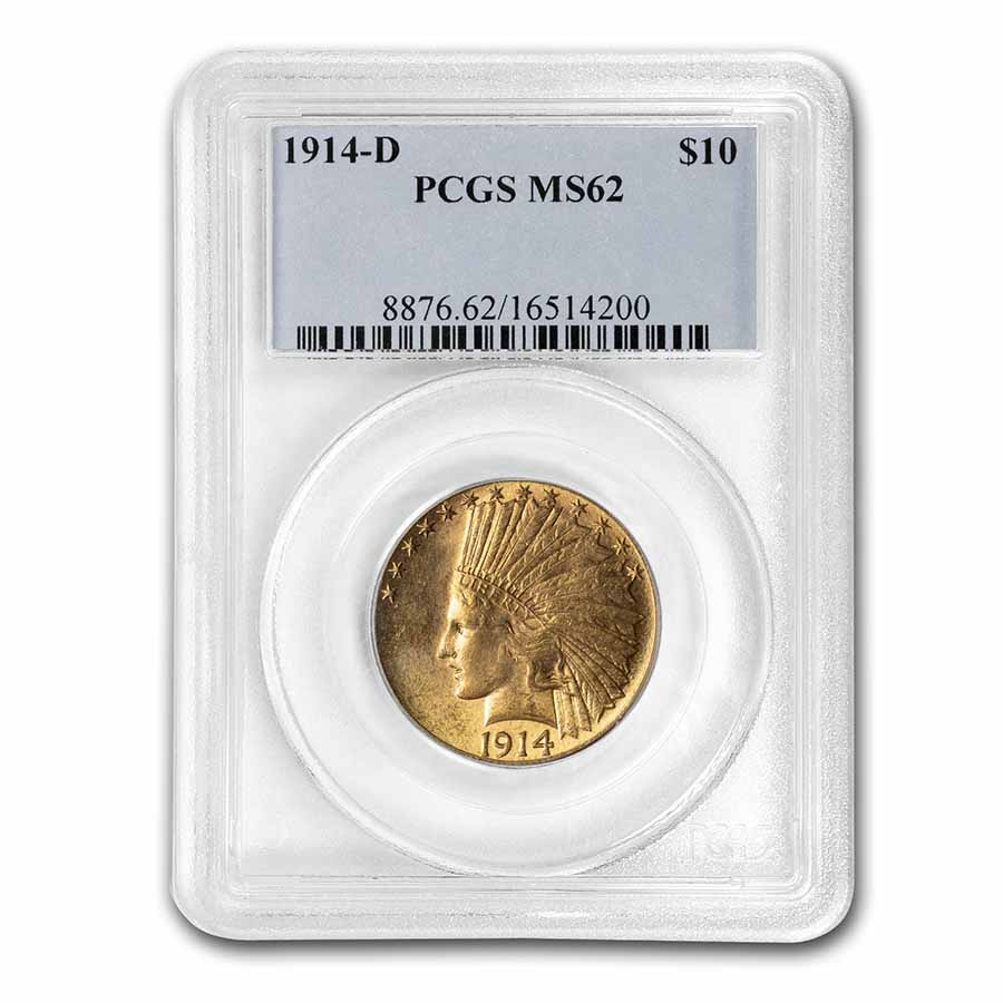 1914-D $10 Indian Gold Eagle - MS-62 PCGS