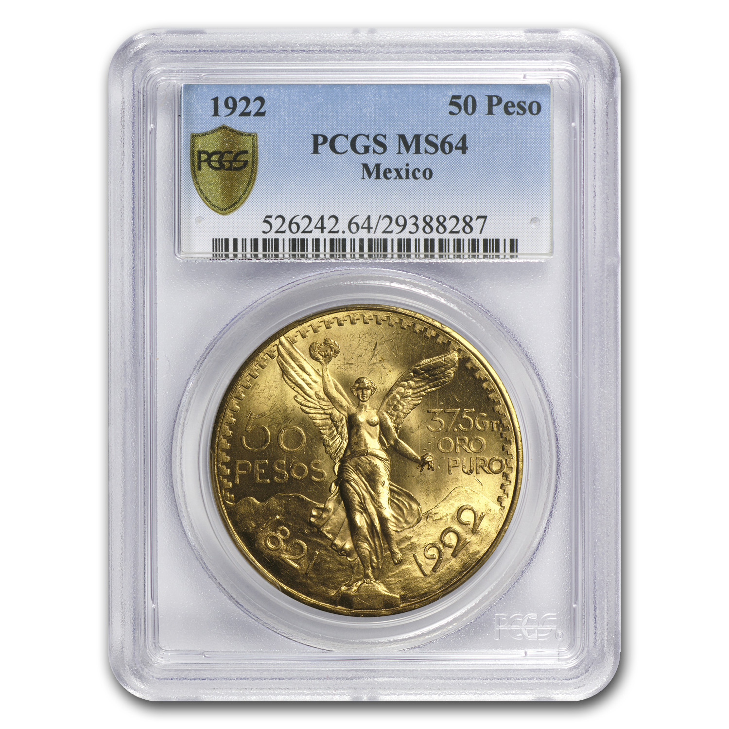 Mexico 1922 50 Pesos Gold Coin - MS-64 PCGS (Secure Plus!)