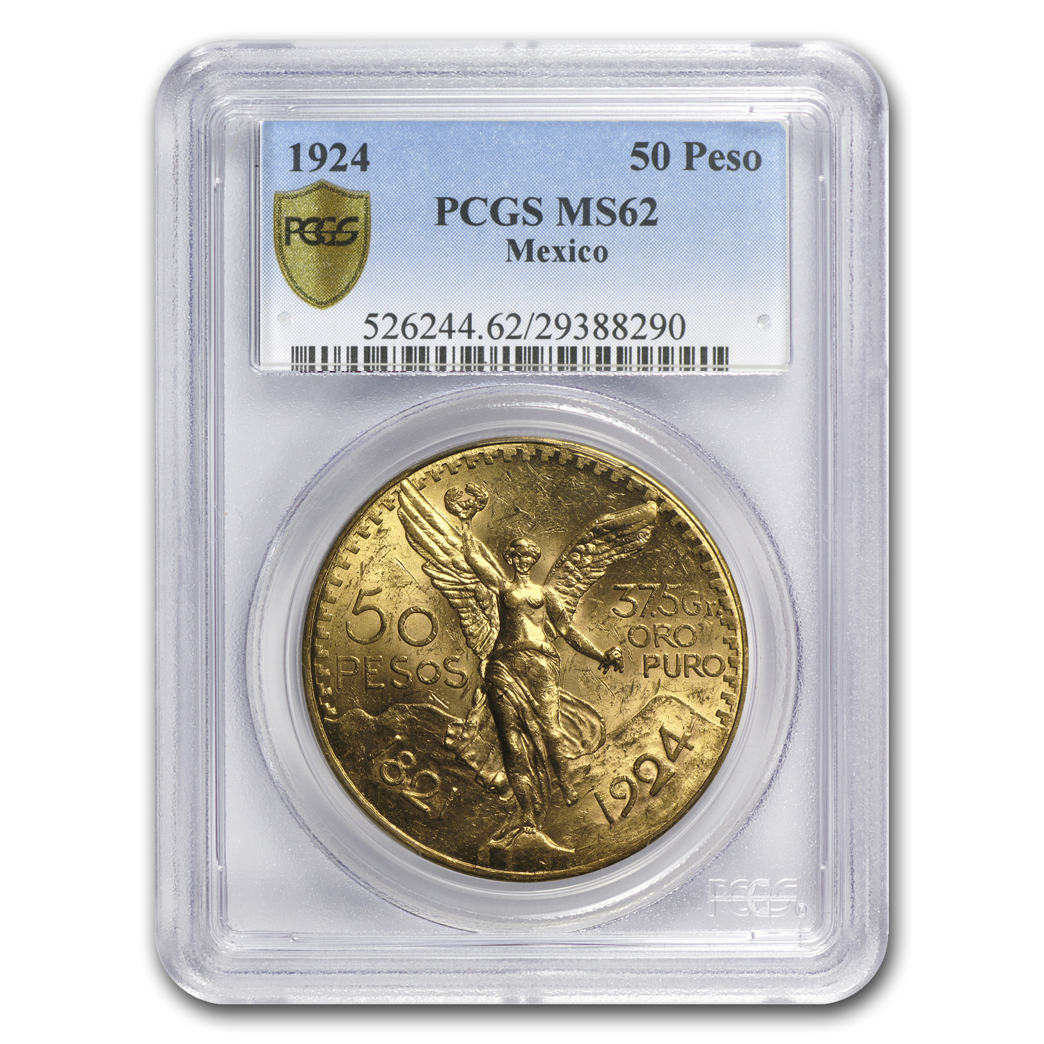 1924 Mexico Gold 50 Pesos MS-62 PCGS