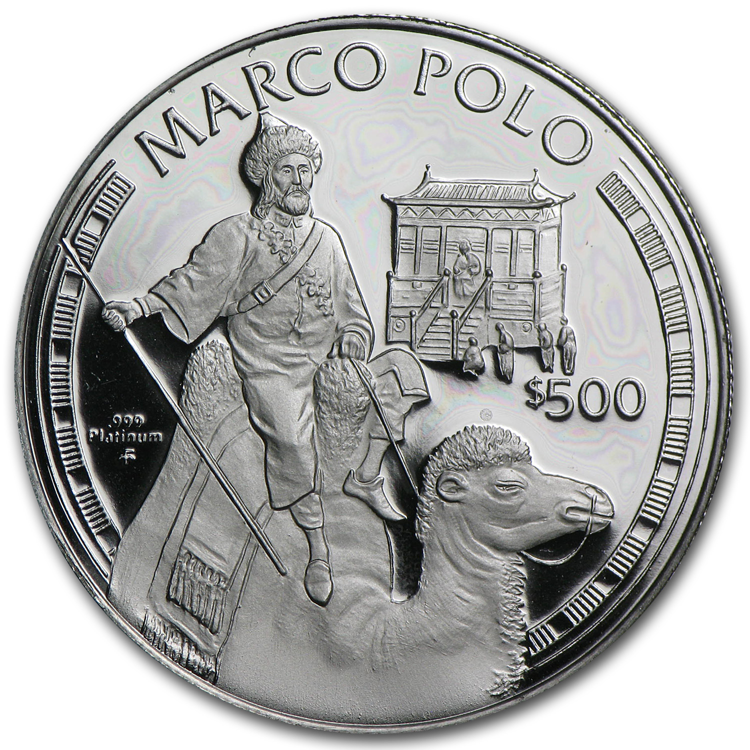 1995 $500 Cook Island Marco Polo Proof Platinum Coin APW .4734
