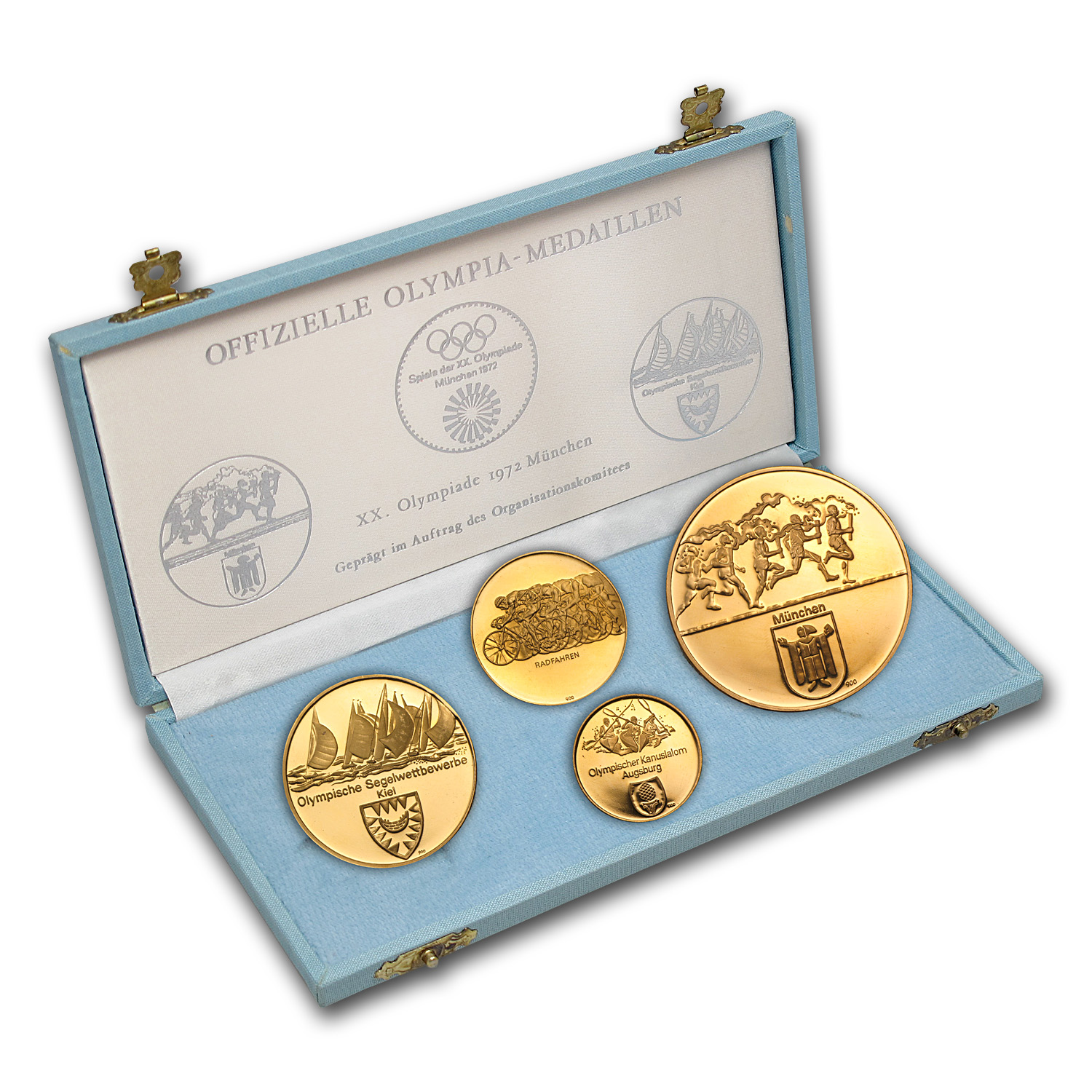 Germany Gold 4 Medal Set Munich Olympics AGW 3.8115