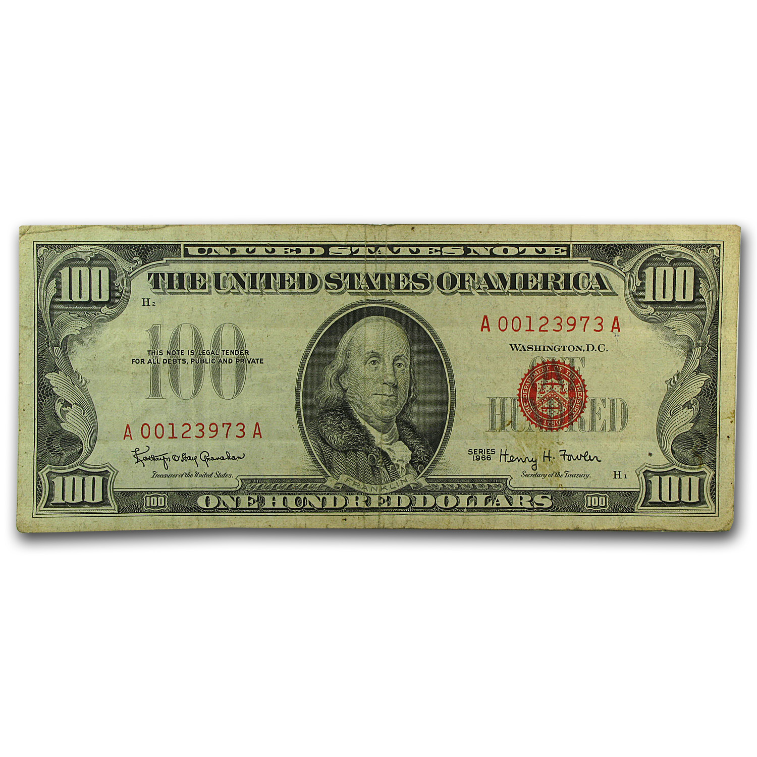 1966 $100 U. S. Note Red Seal Fine