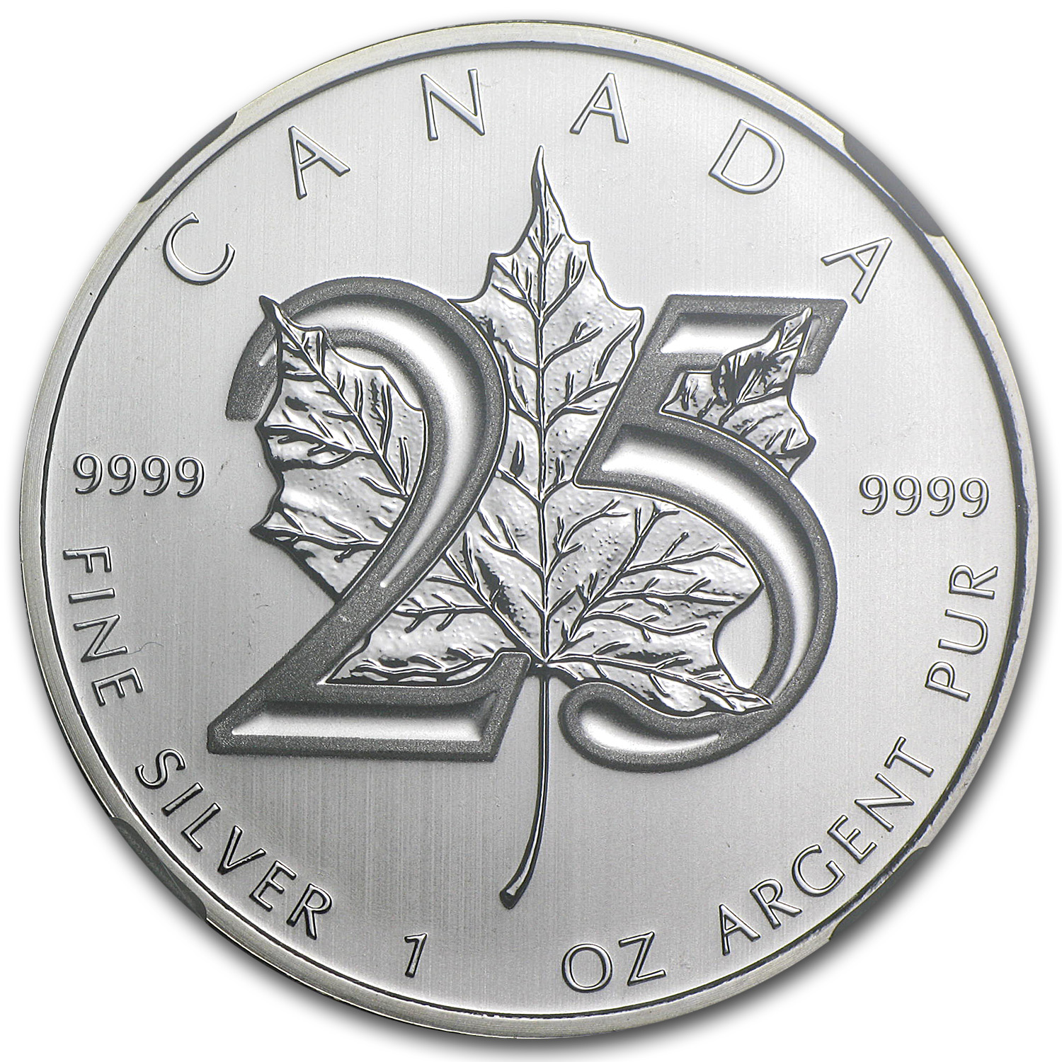 2013 1 oz Silver Canadian Maple Leaf MS-69 NGC (ER) (25th Anniv.)