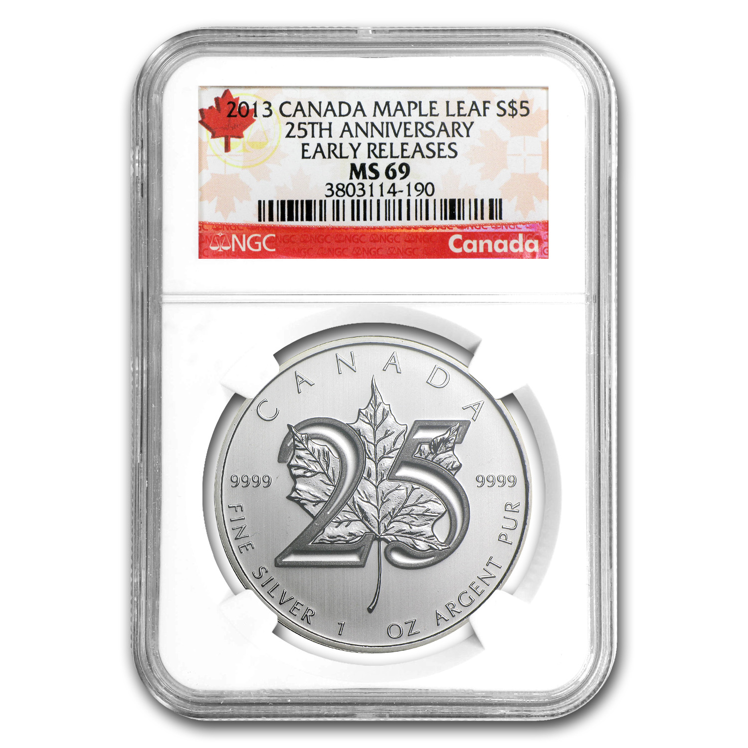 2013 1 oz Silver Canadian Maple Leaf - 25th Anniv. MS-69 NGC - ER