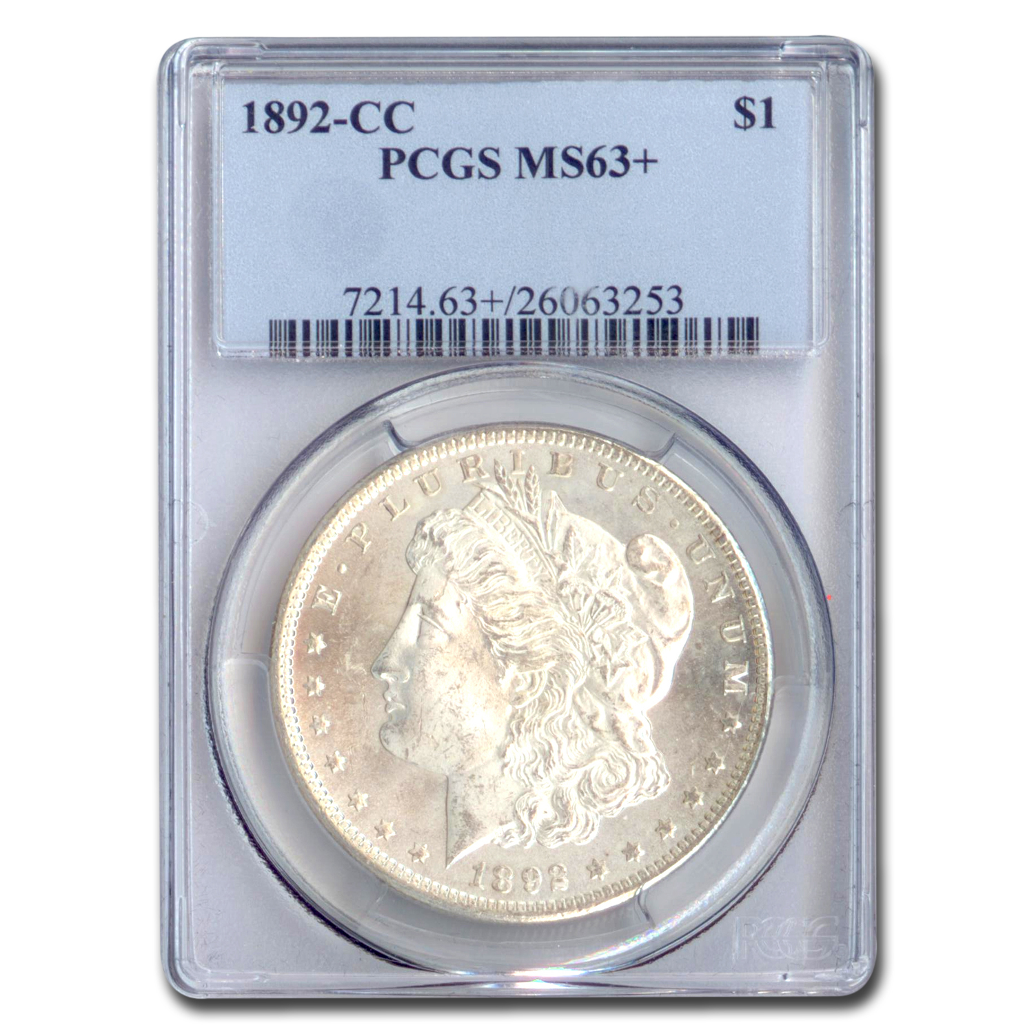 1892-CC Morgan Dollar MS-63+ Plus PCGS