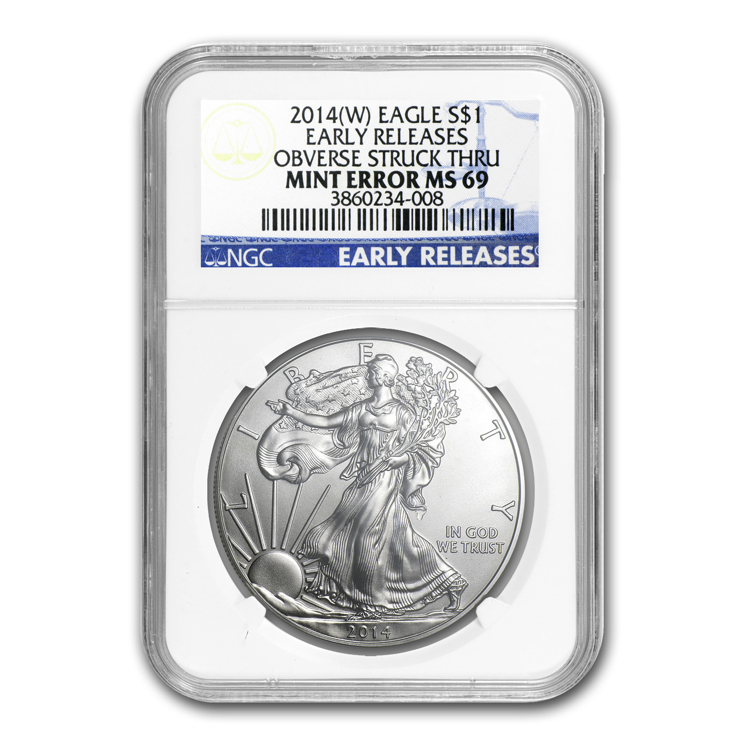 2014 (W) Silver Eagle MS-69 NGC (Early Releases, Mint Error)
