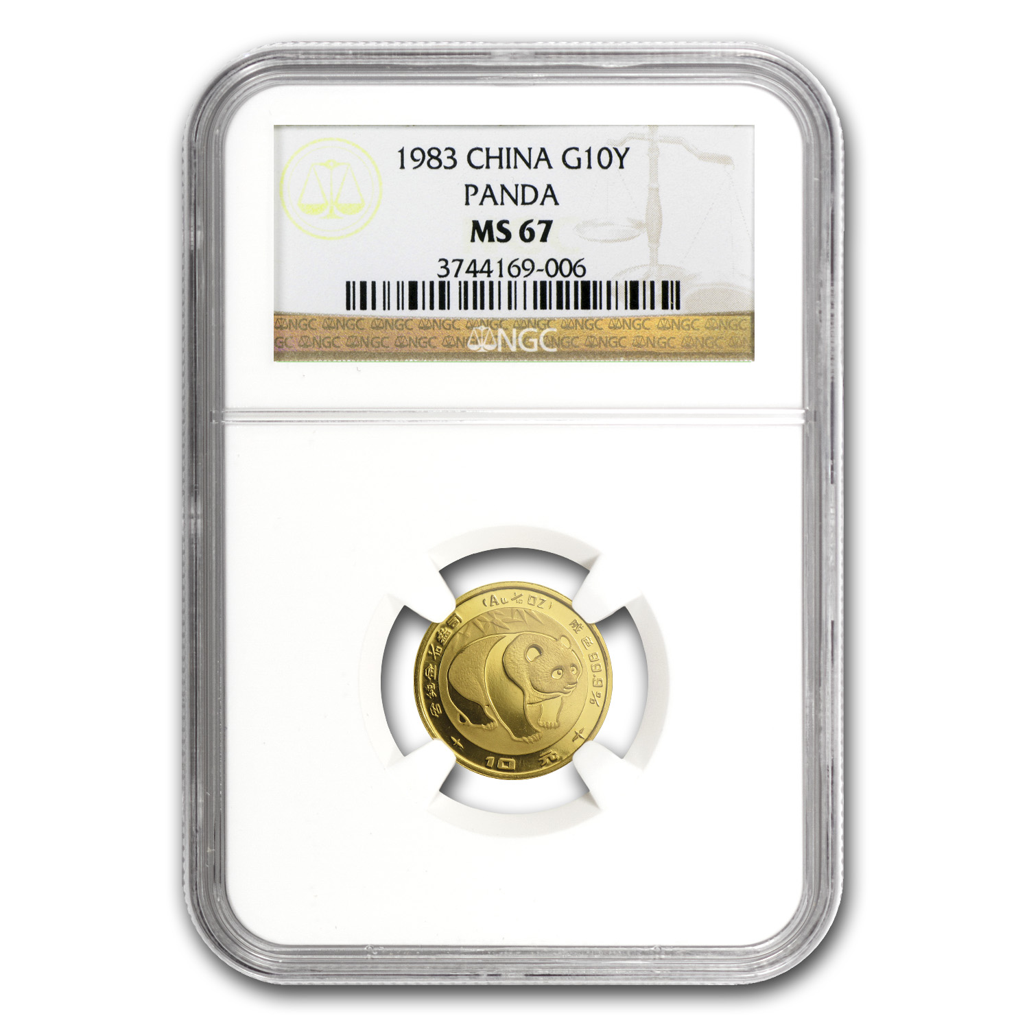 1983 China 1/10 oz Gold Panda MS-67 NGC