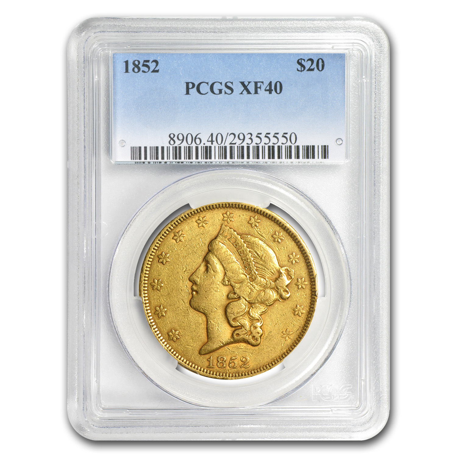 1852 $20 Gold Liberty Double Eagle XF-40 PCGS