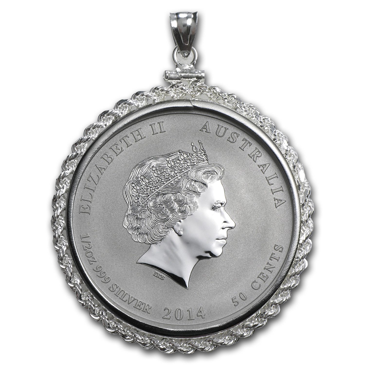 2014 1/2 oz Silver Horse Pendant (Screw-Top Rope Bezel)